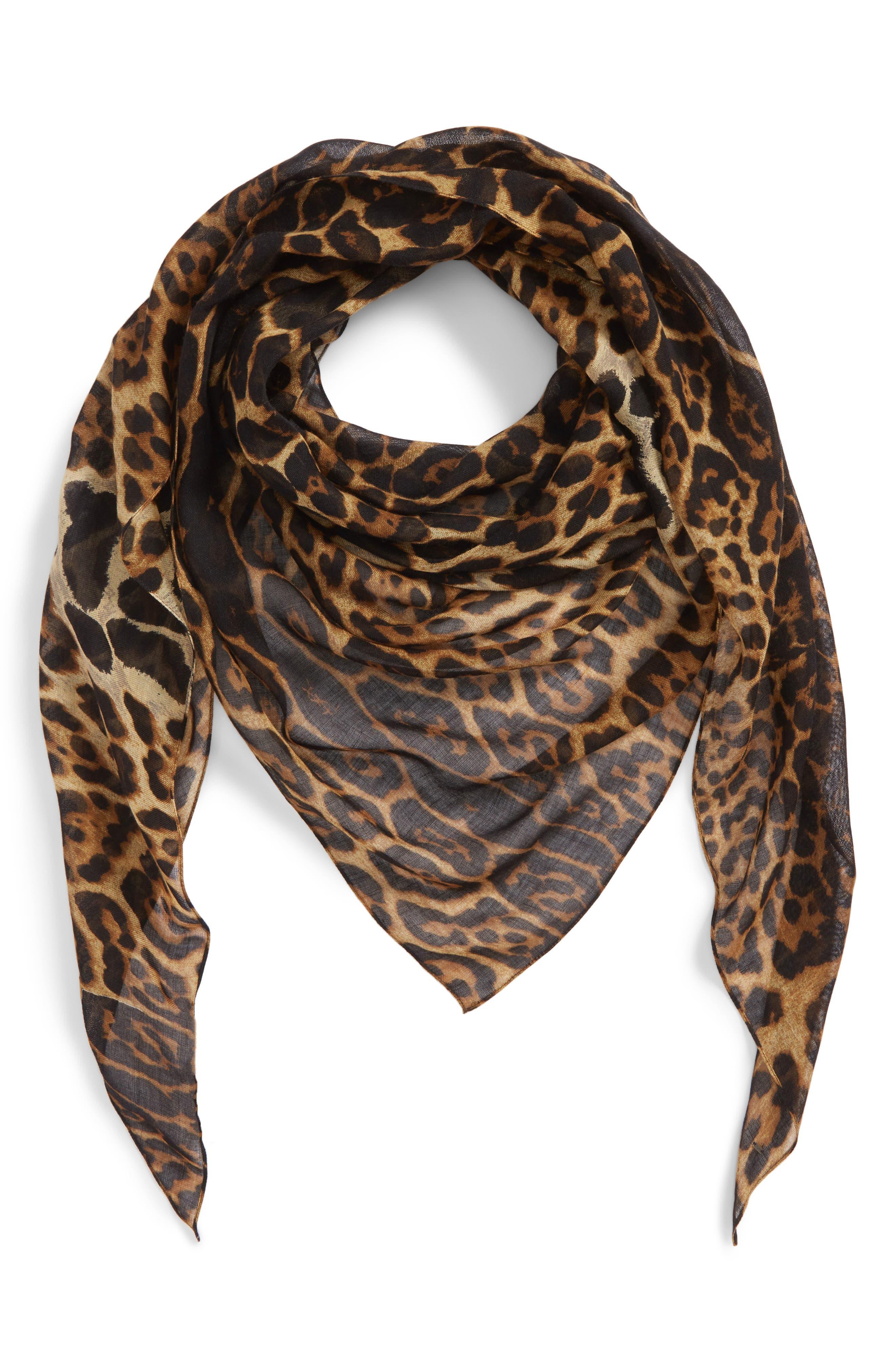 YSL Leopard Print Cashmere & Silk Triangle Scarf,                             Alternate thumbnail 2, color,                             Mahogany/ Black