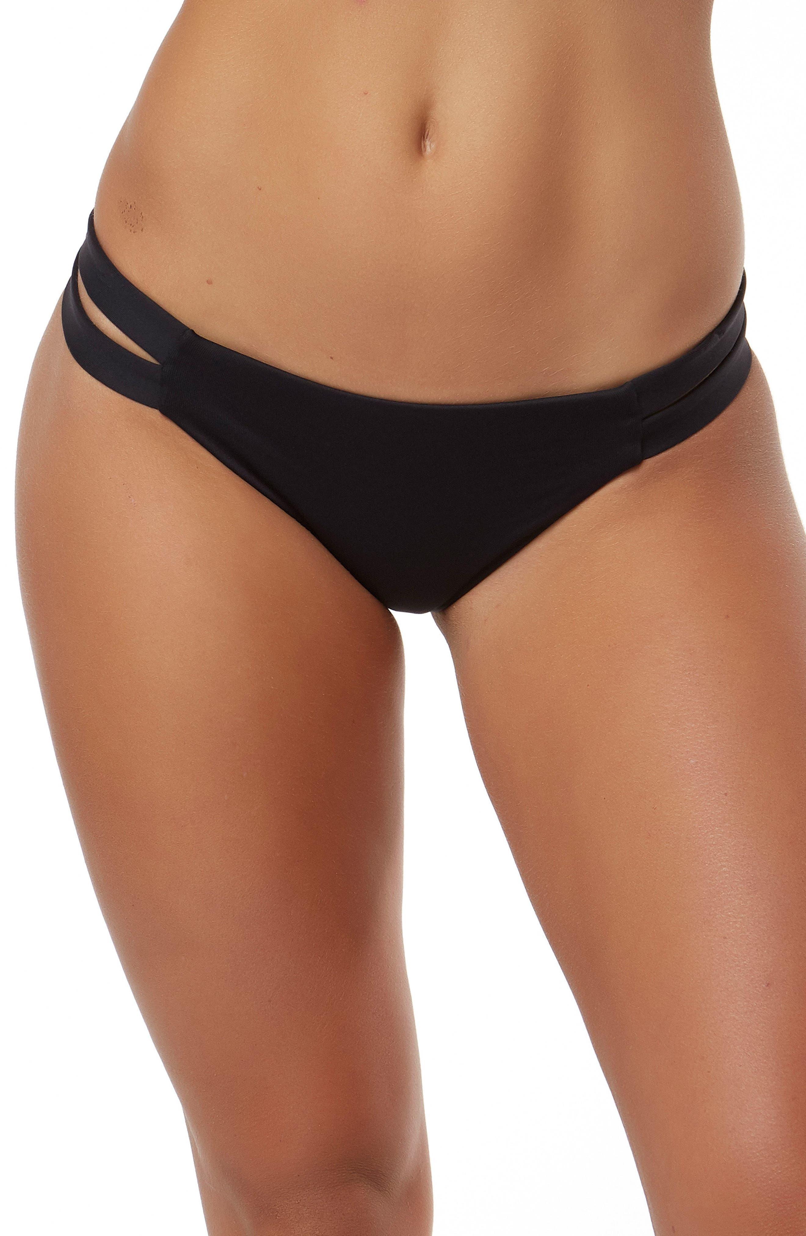Elora Hybrid Bikini Bottoms,                             Main thumbnail 1, color,                             Black