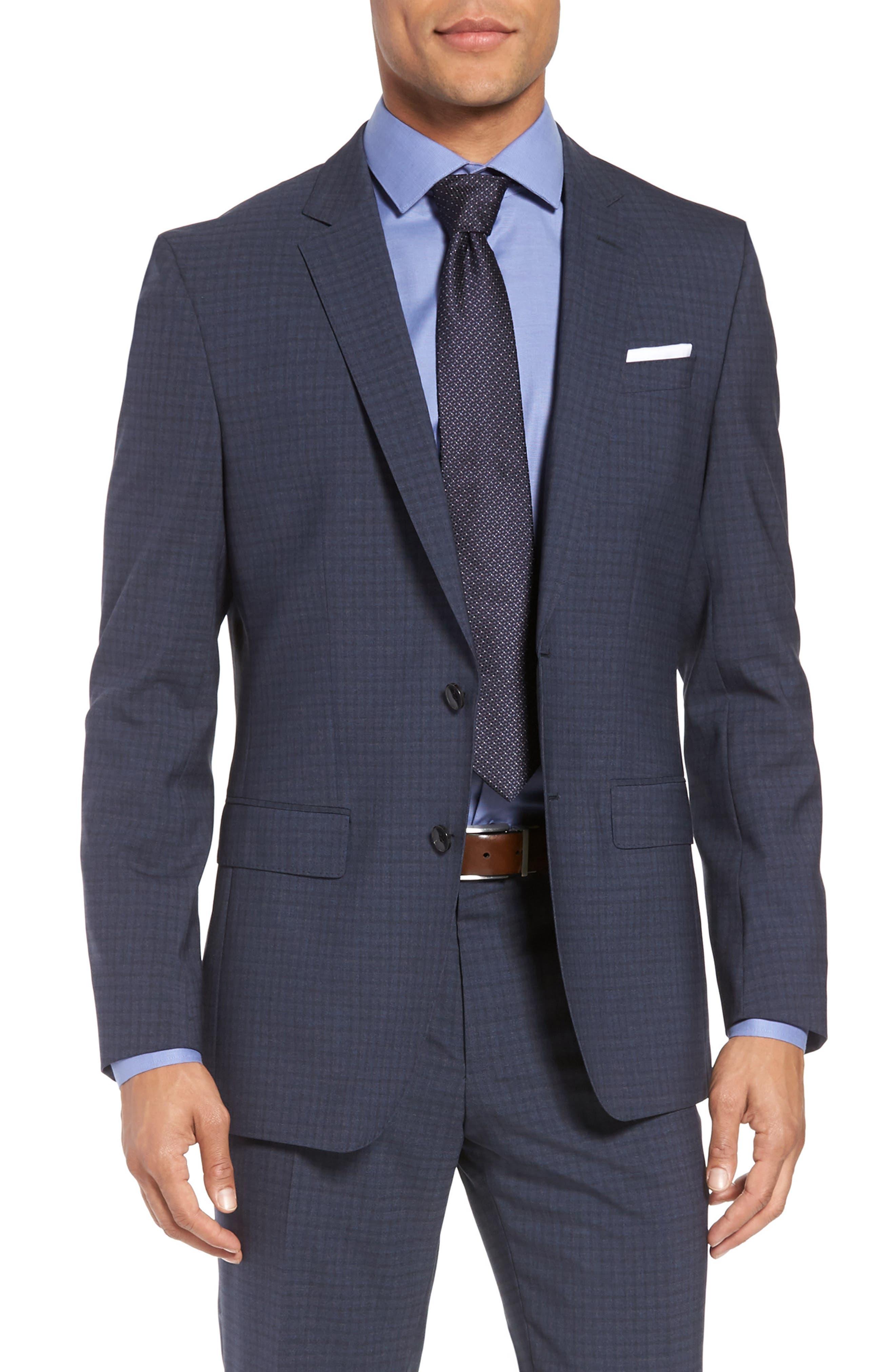 Huge/Genius Trim Fit Check Wool Suit,                             Alternate thumbnail 5, color,                             Blue/ Brown/ Charcoal