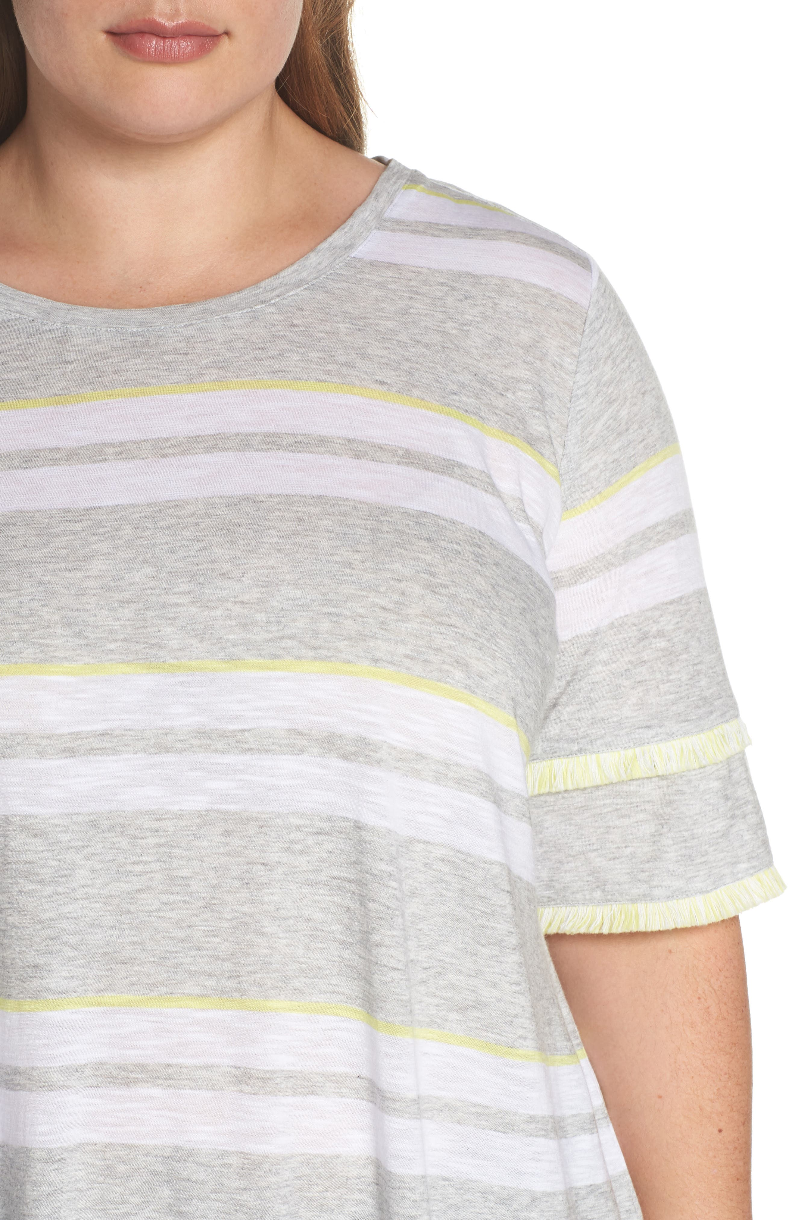 Fringe Sleeve Stadium Stripe Top,                             Alternate thumbnail 4, color,                             Grey Heather