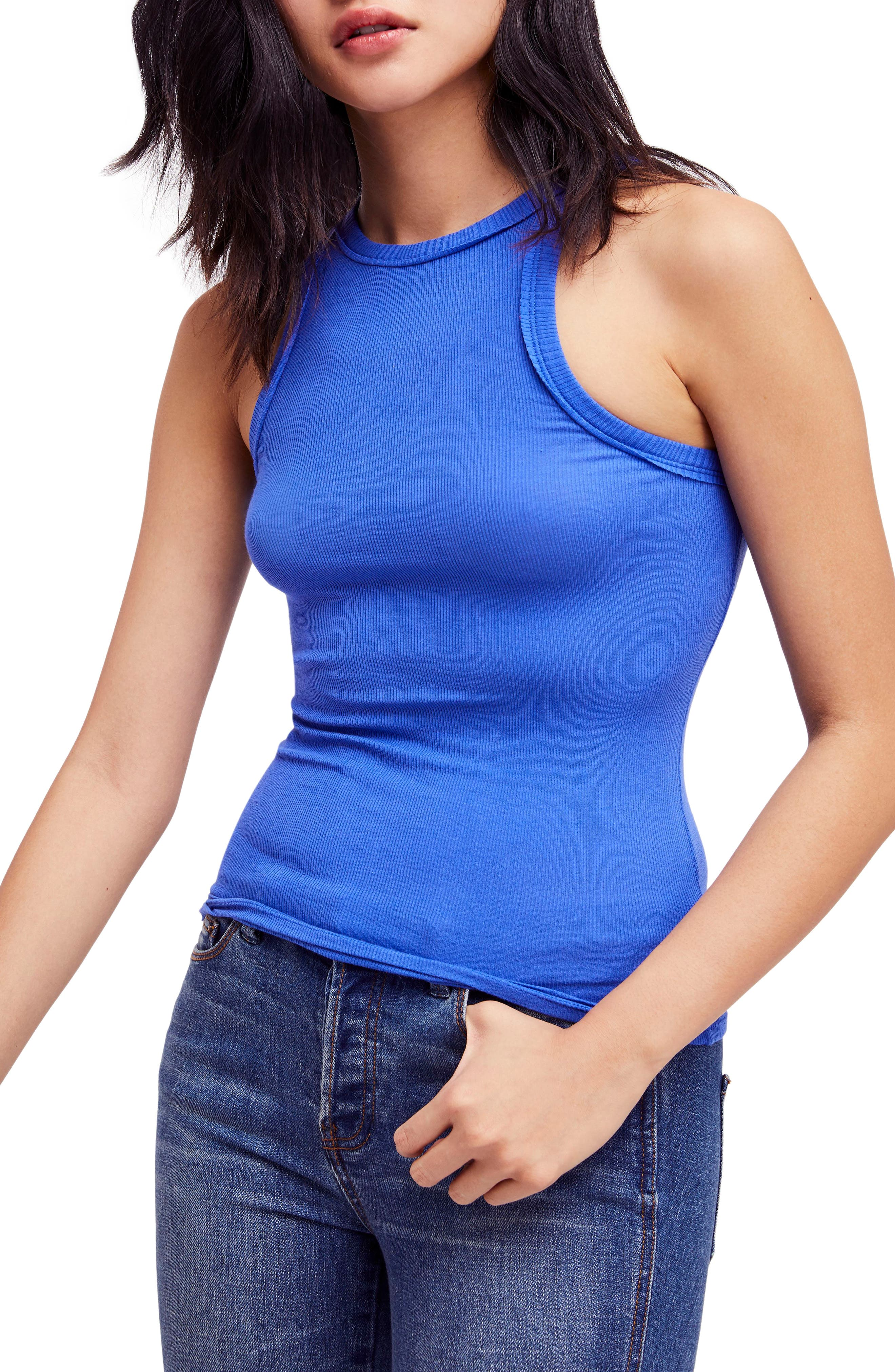 Wide Eyed Racerback Tank,                         Main,                         color, Sapphire