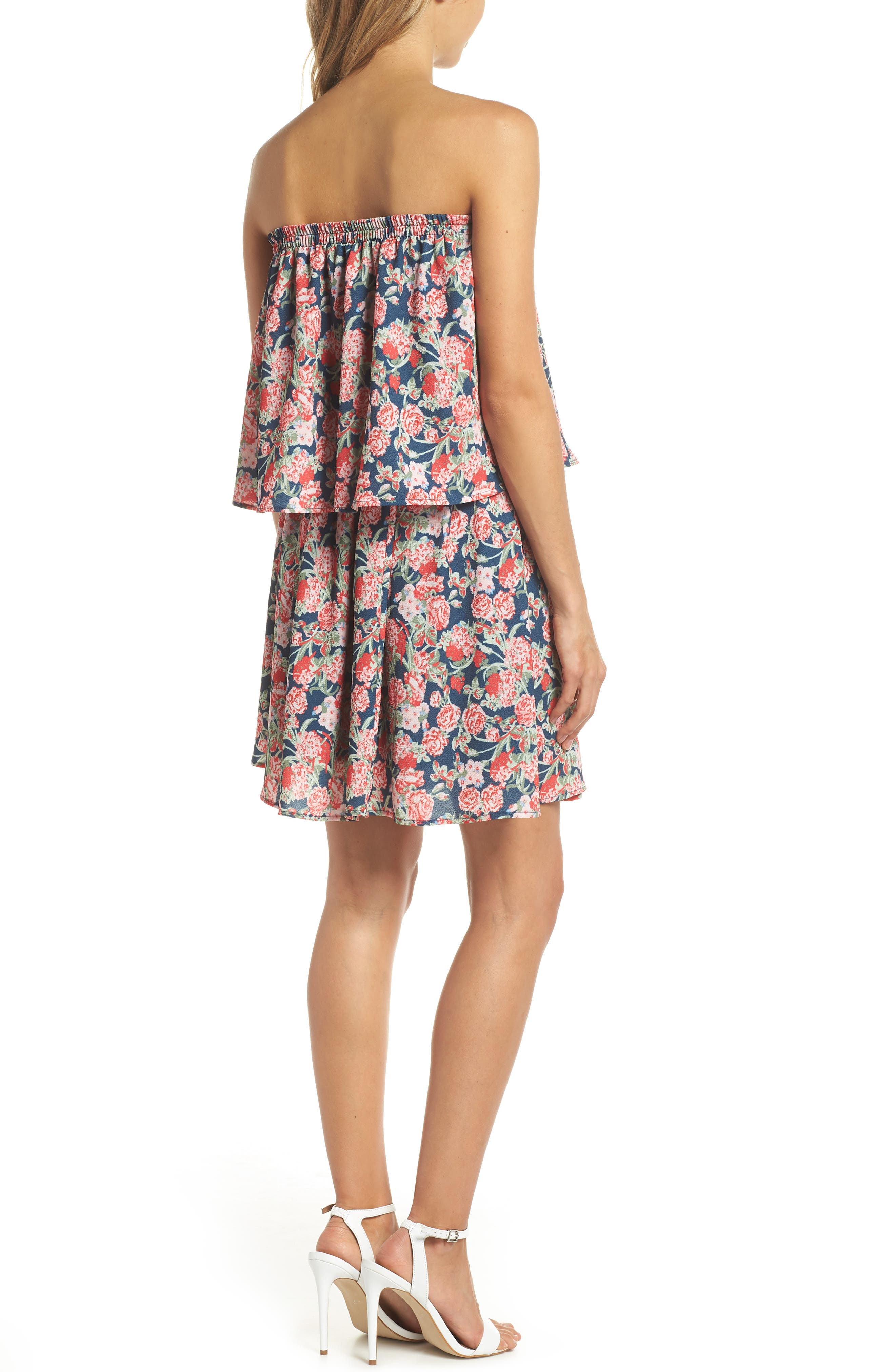 Print Strapless Popover Dress,                             Alternate thumbnail 2, color,                             Boston