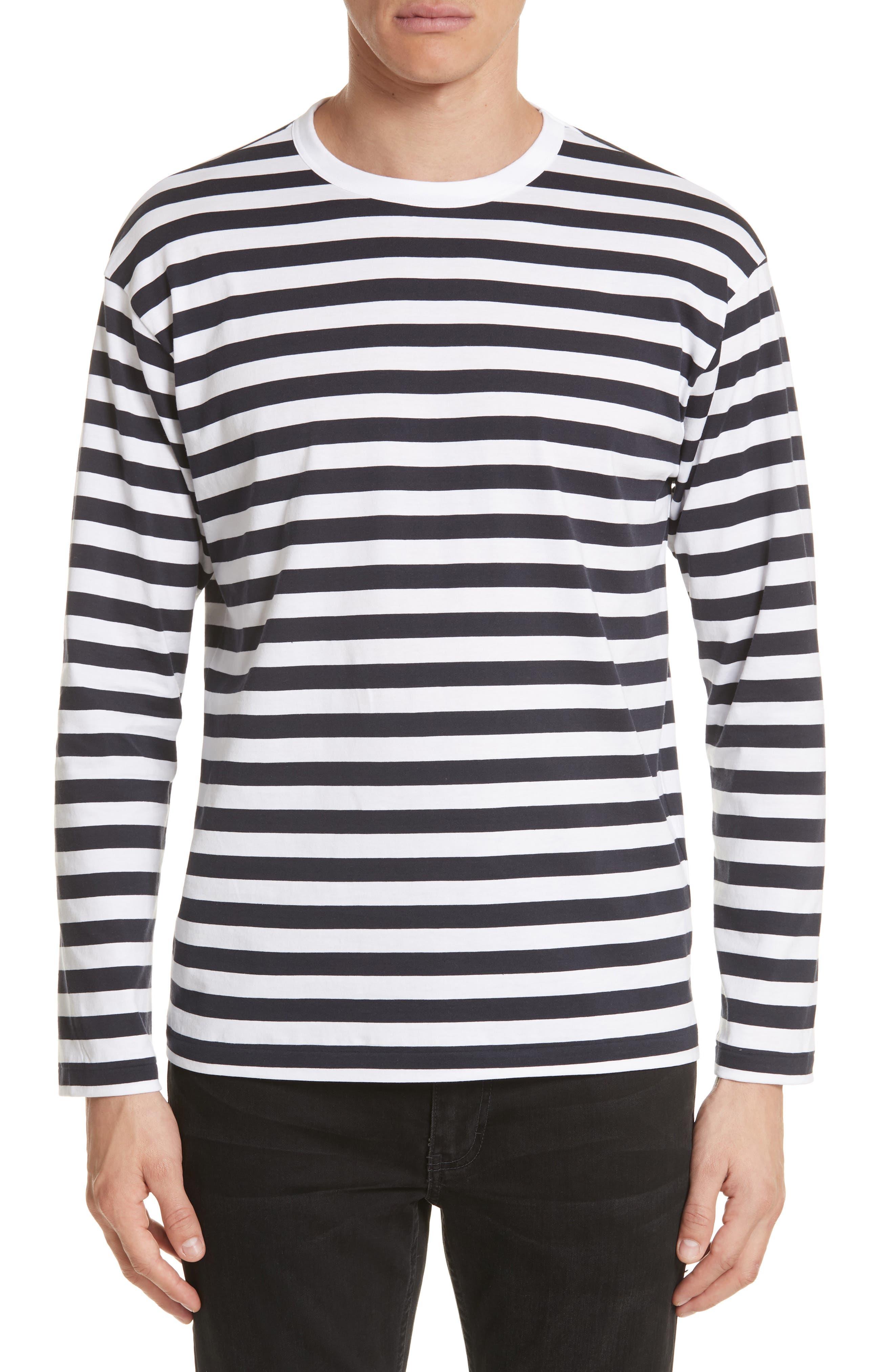 Stripe Long Sleeve T-Shirt,                             Main thumbnail 1, color,                             White/Navy
