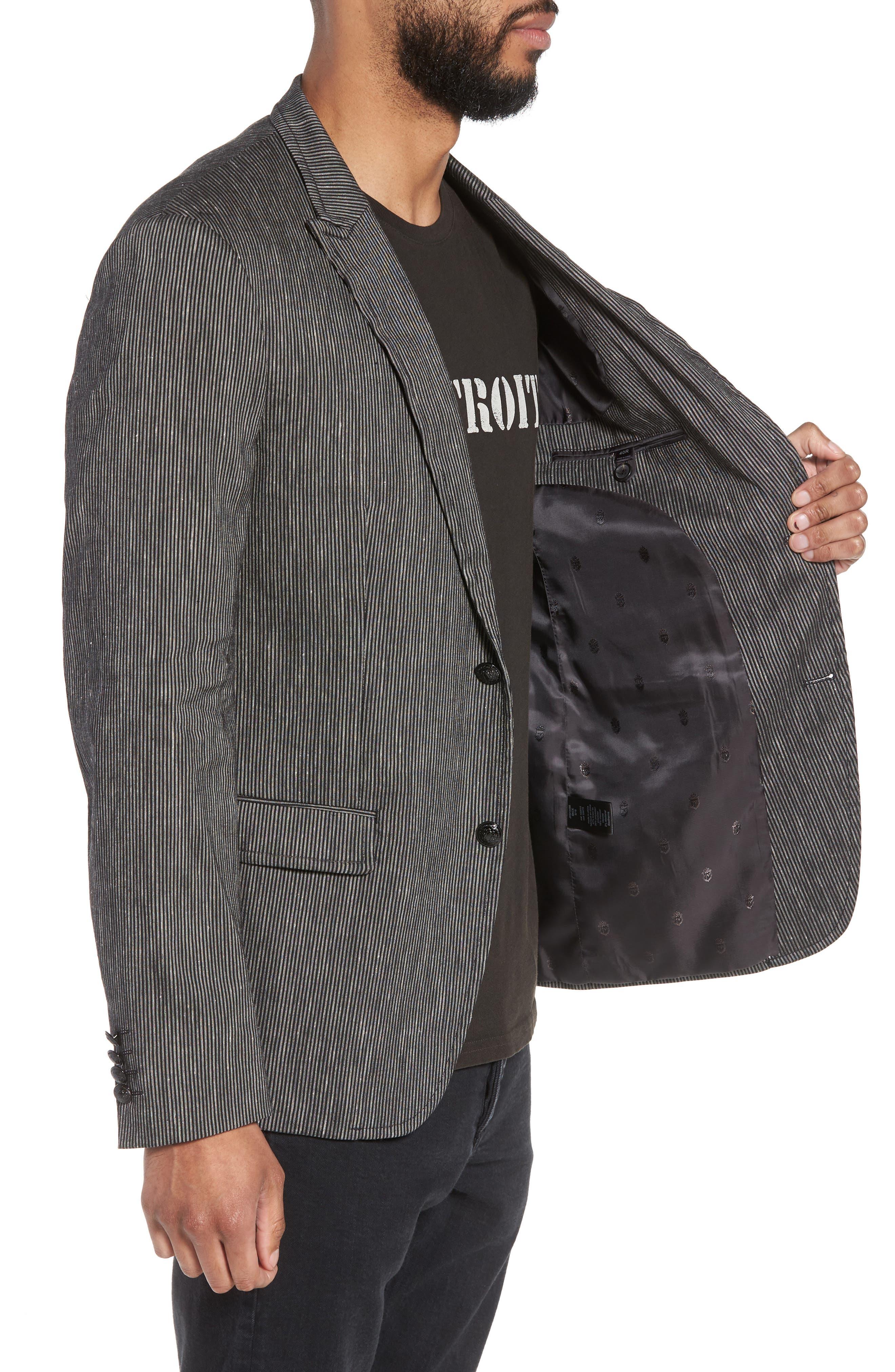 Regular Fit Stretch Stripe Linen Blend Sport Coat,                             Alternate thumbnail 3, color,                             Black/White