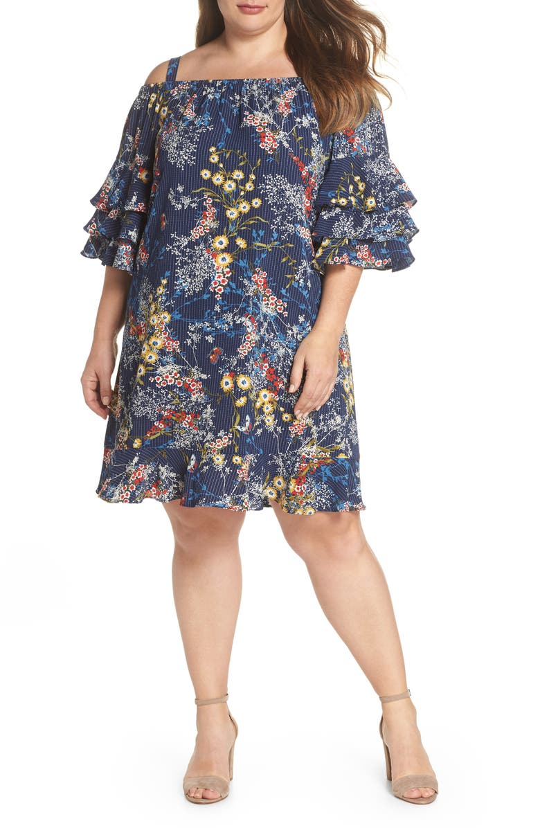 Gabby Sky Floral Tiered Sleeve Off the Shoulder Dress