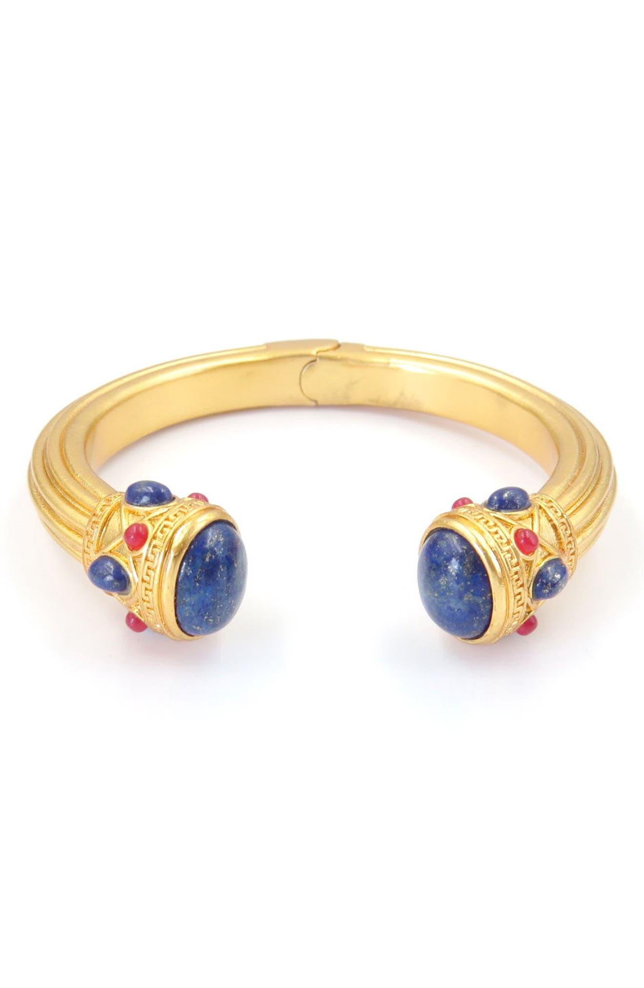 Lapis & Quartzite Cuff Bracelet,                             Main thumbnail 1, color,                             Gold