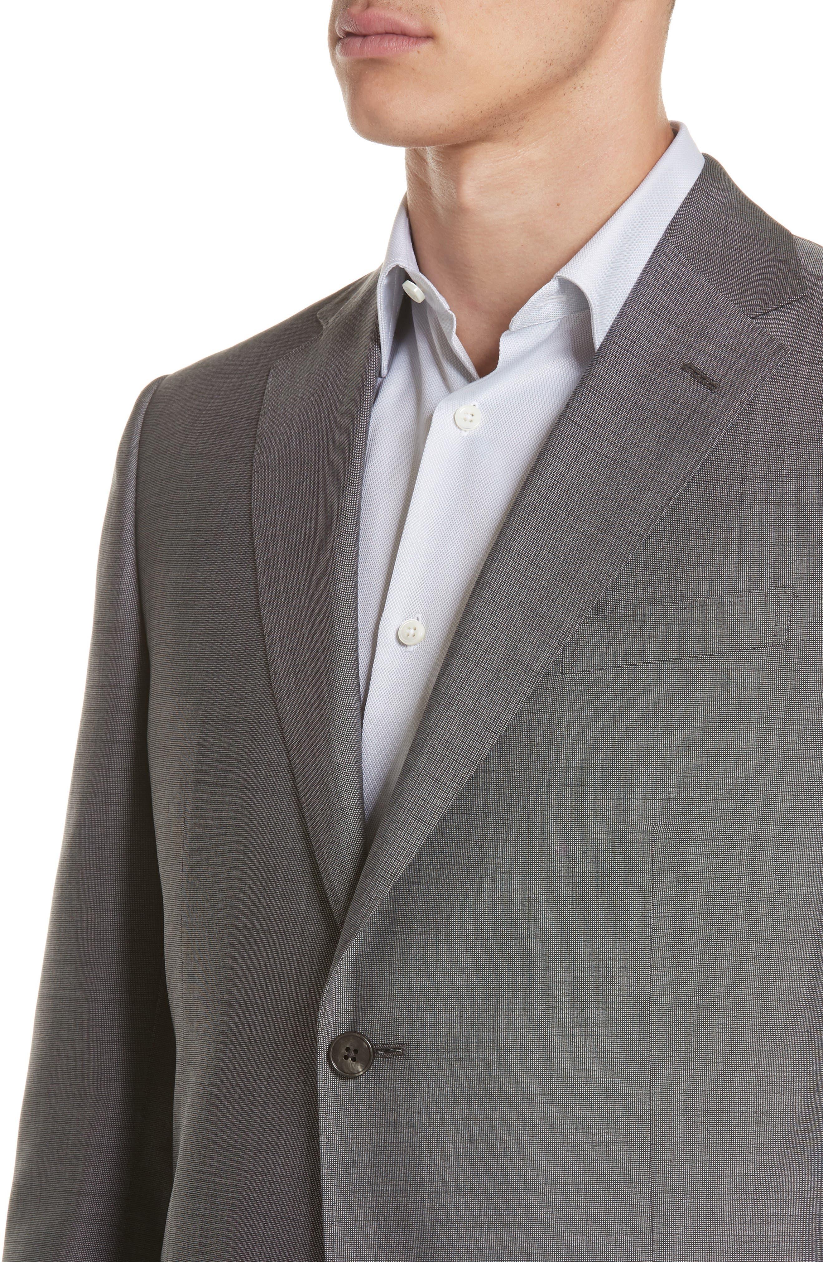 Trim Fit Solid Wool & Silk Suit,                             Alternate thumbnail 4, color,                             Grey