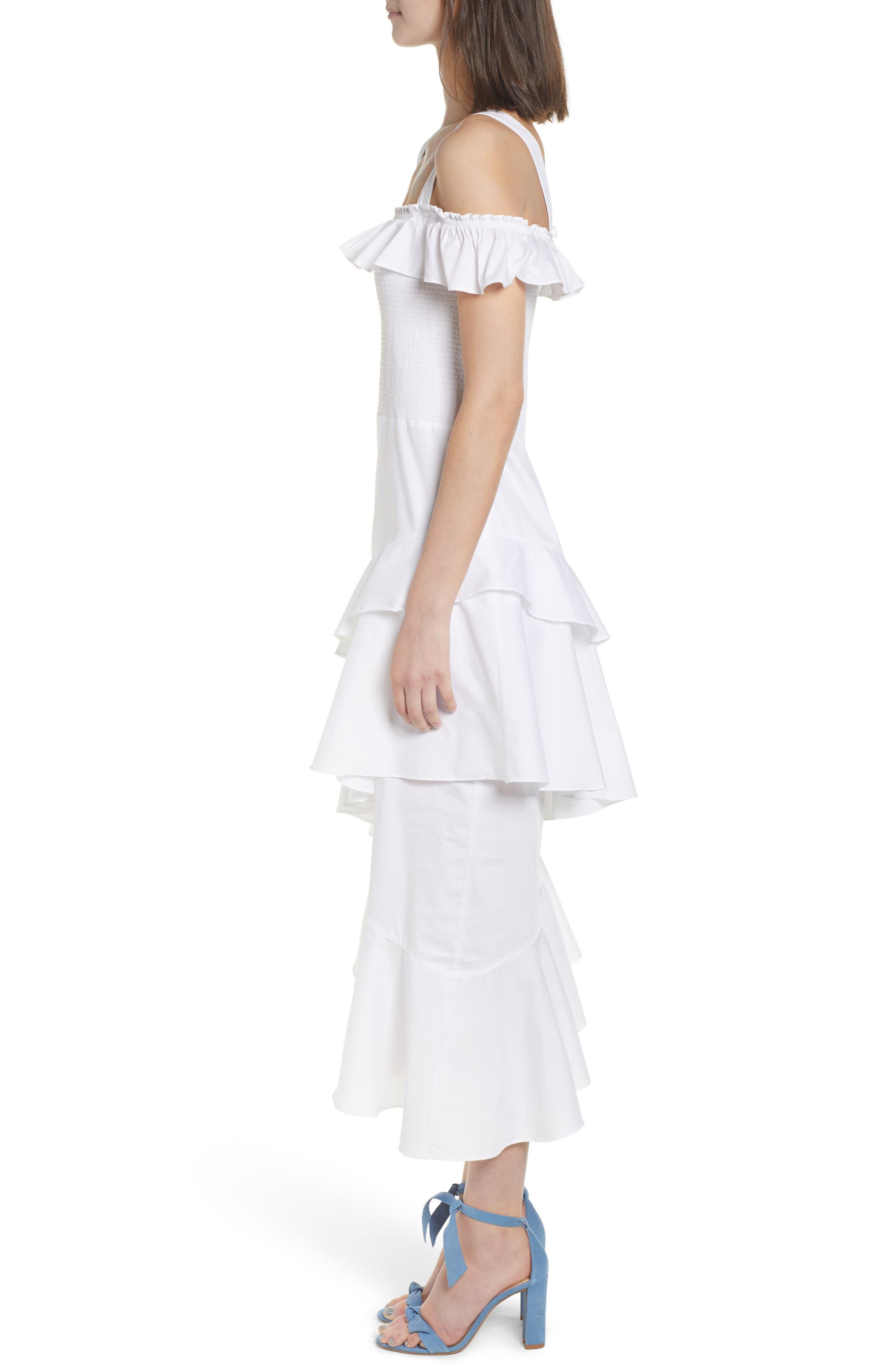 Ruffle Smocked Cold Shoulder Dress,                             Alternate thumbnail 3, color,                             White
