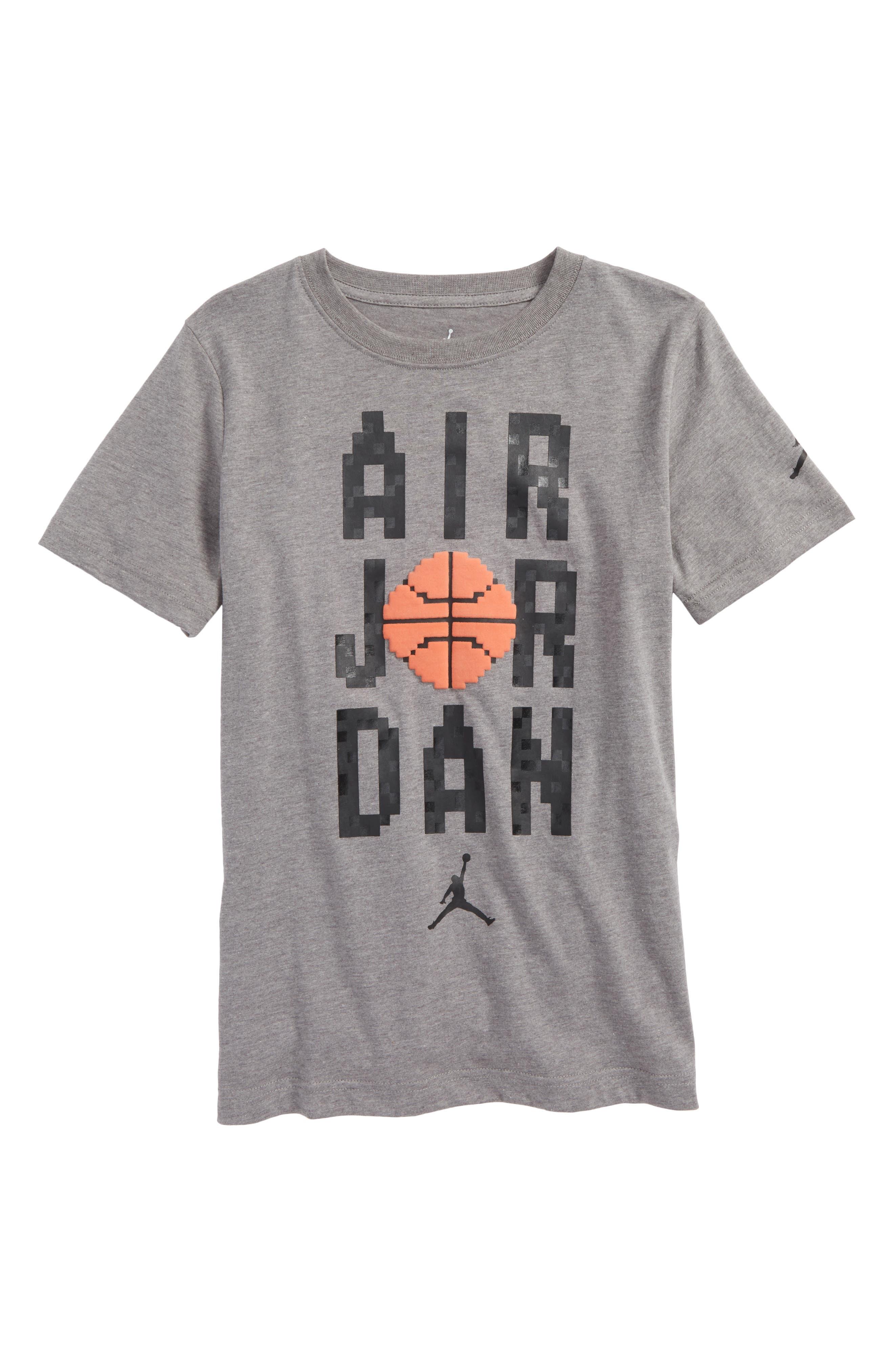 Jordan Pixel Pack Wordmark T-Shirt,                             Main thumbnail 1, color,                             Carbon Heather
