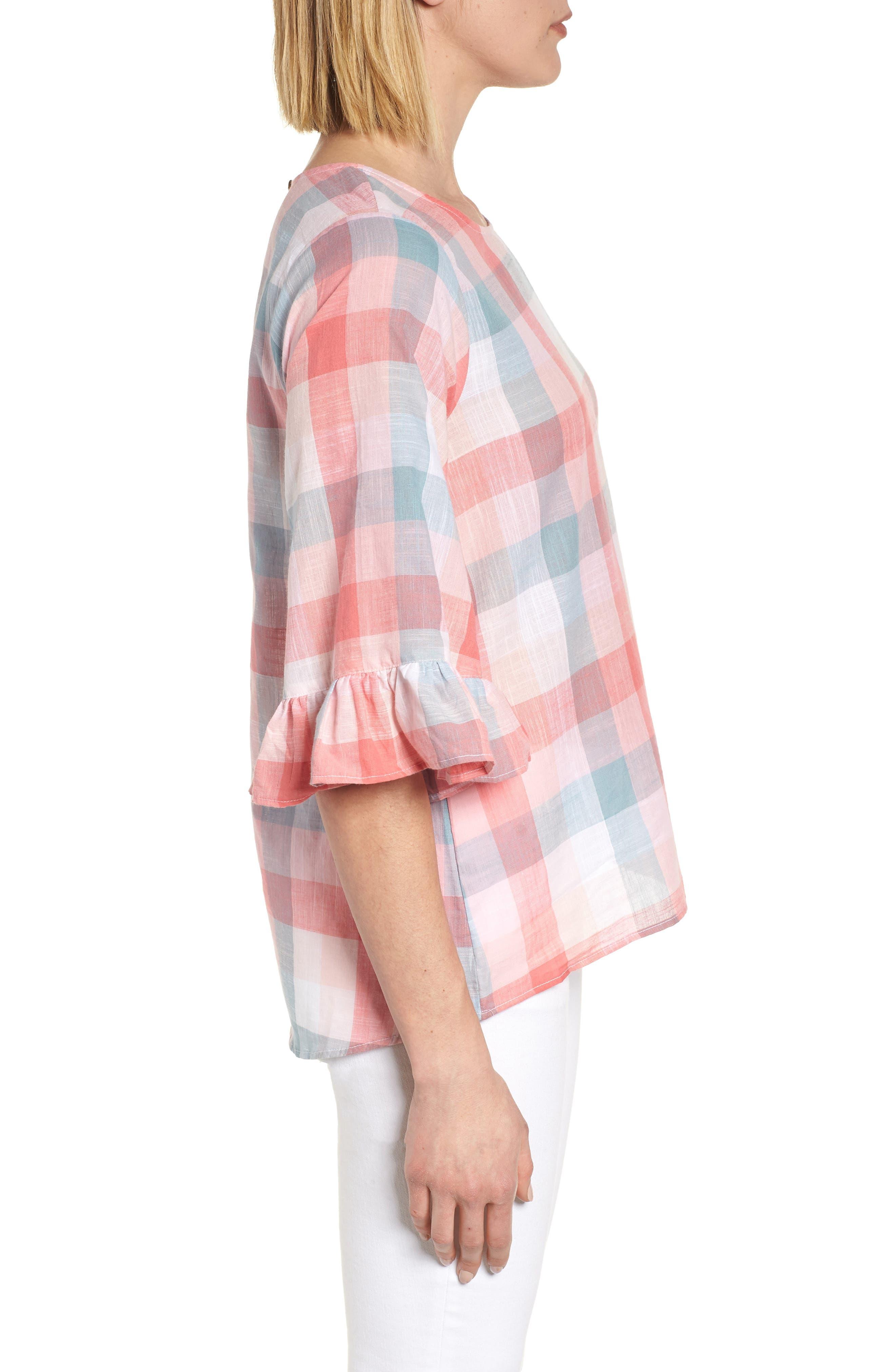 Pastel Plaid Ruffle Sleeve Cotton Top,                             Alternate thumbnail 3, color,                             Pink Plaid