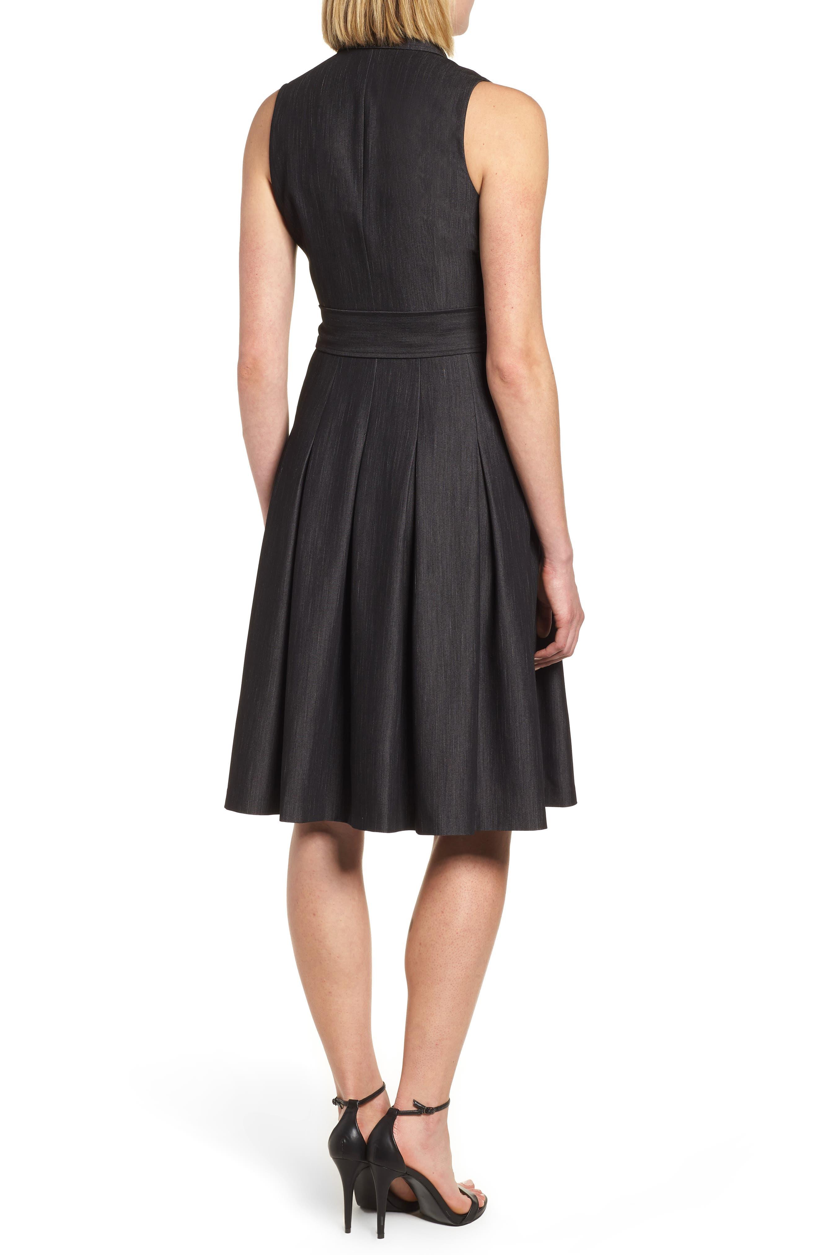 Notch Collar Stretch Denim Dress,                             Alternate thumbnail 2, color,                             Black
