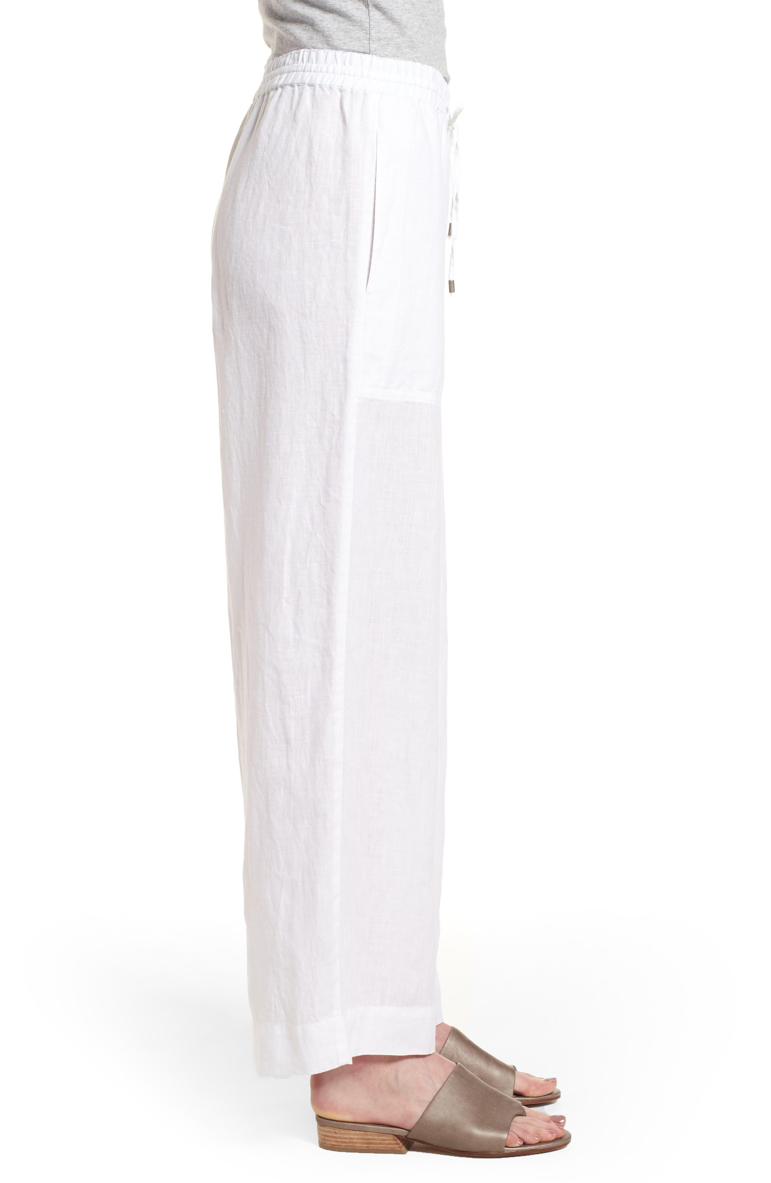Wide Leg Organic Linen Pants,                             Alternate thumbnail 3, color,                             White