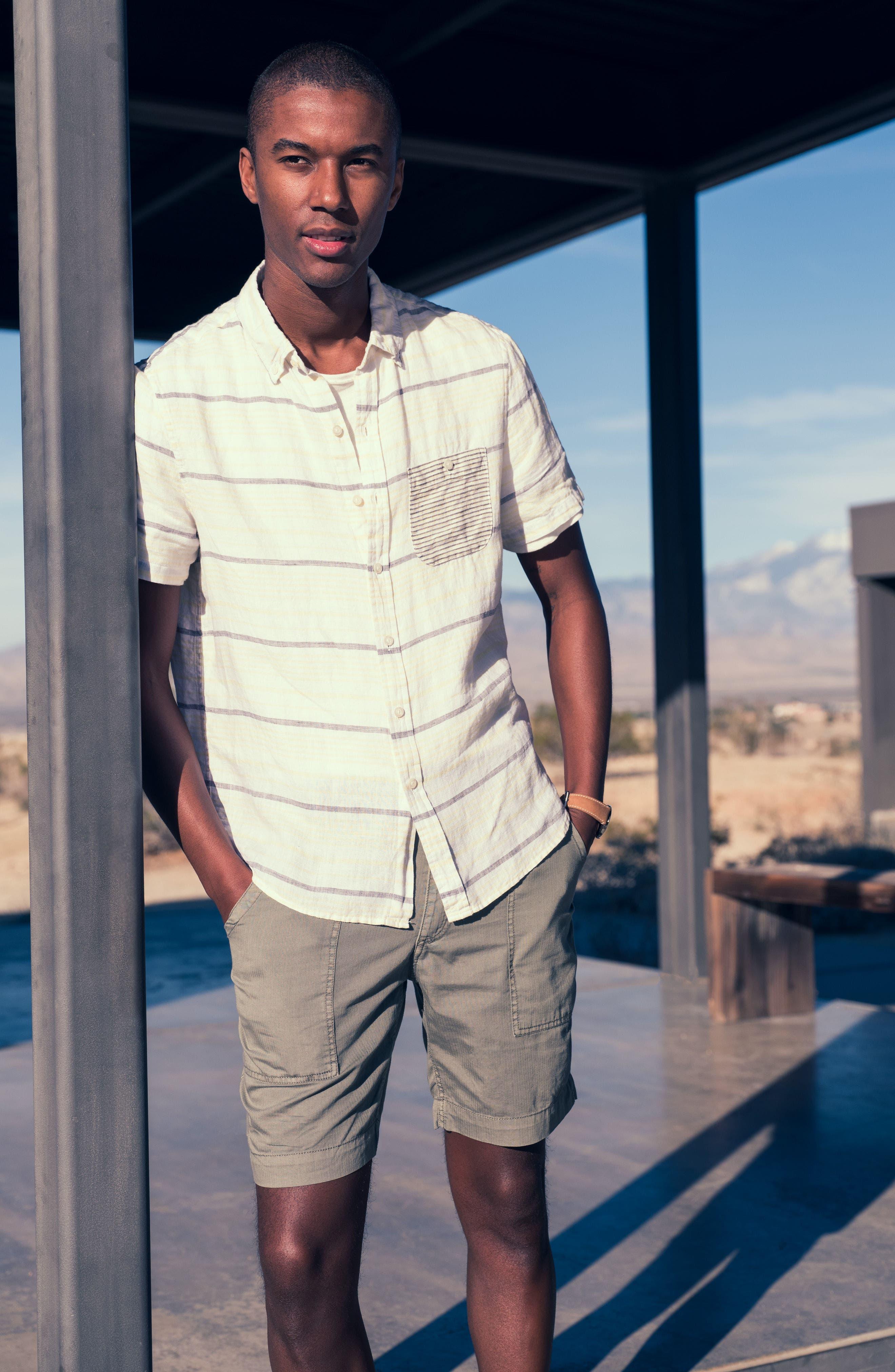 Stripe Linen Sport Shirt,                             Alternate thumbnail 8, color,