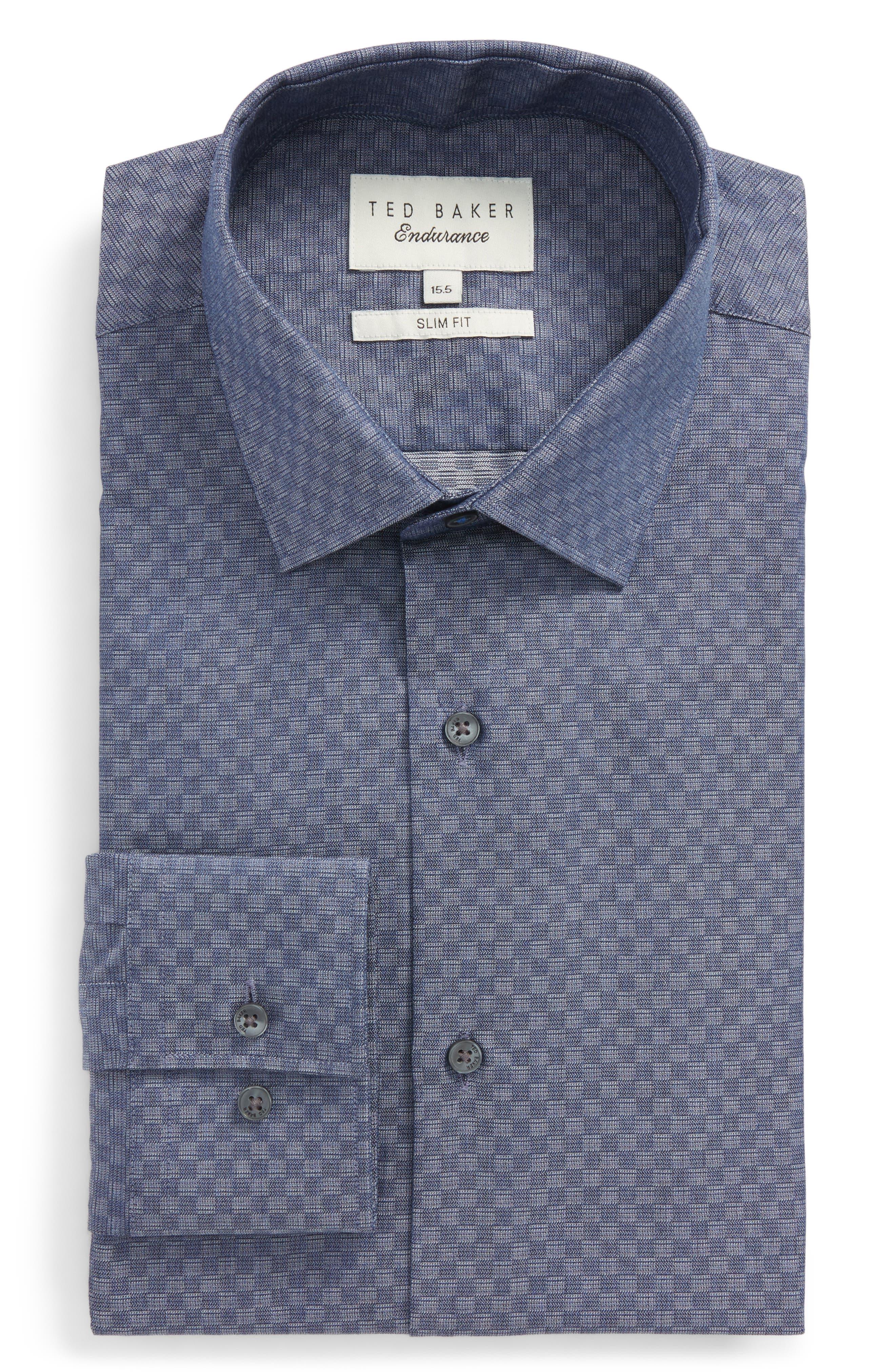 Wests Slim Fit Check Dress Shirt,                         Main,                         color, Navy