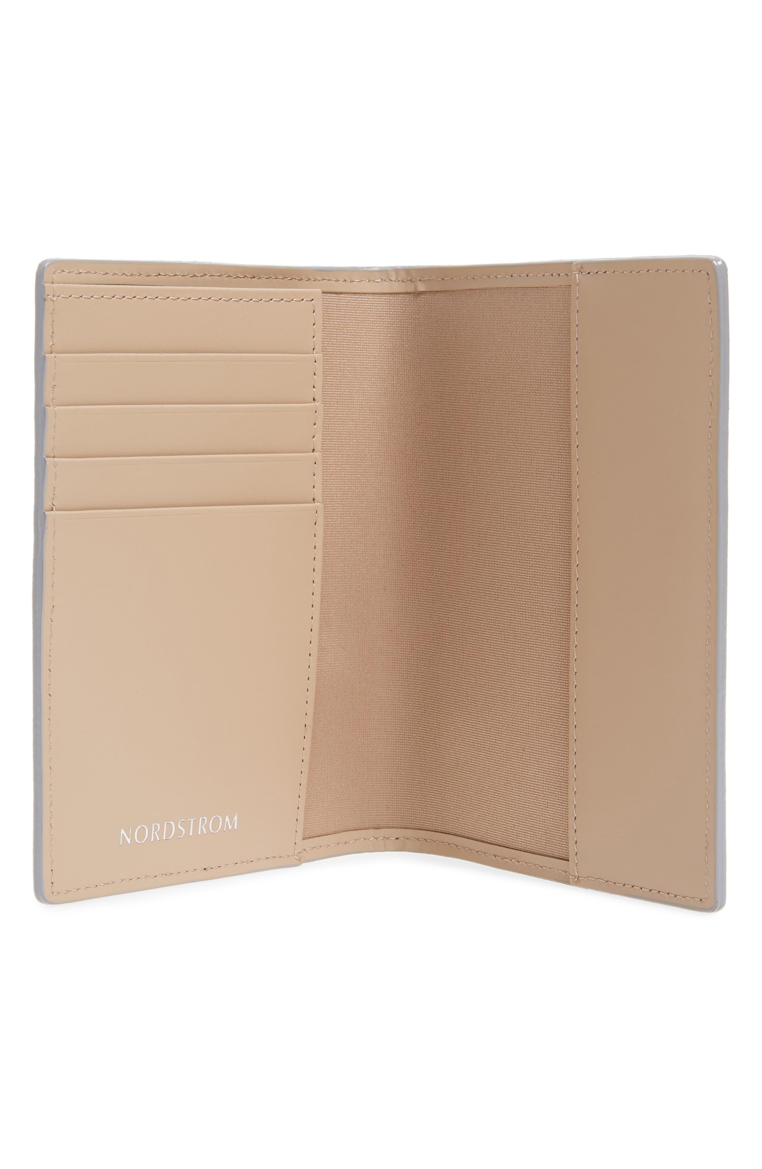 Leather Passport Case,                             Alternate thumbnail 2, color,                             White Silver