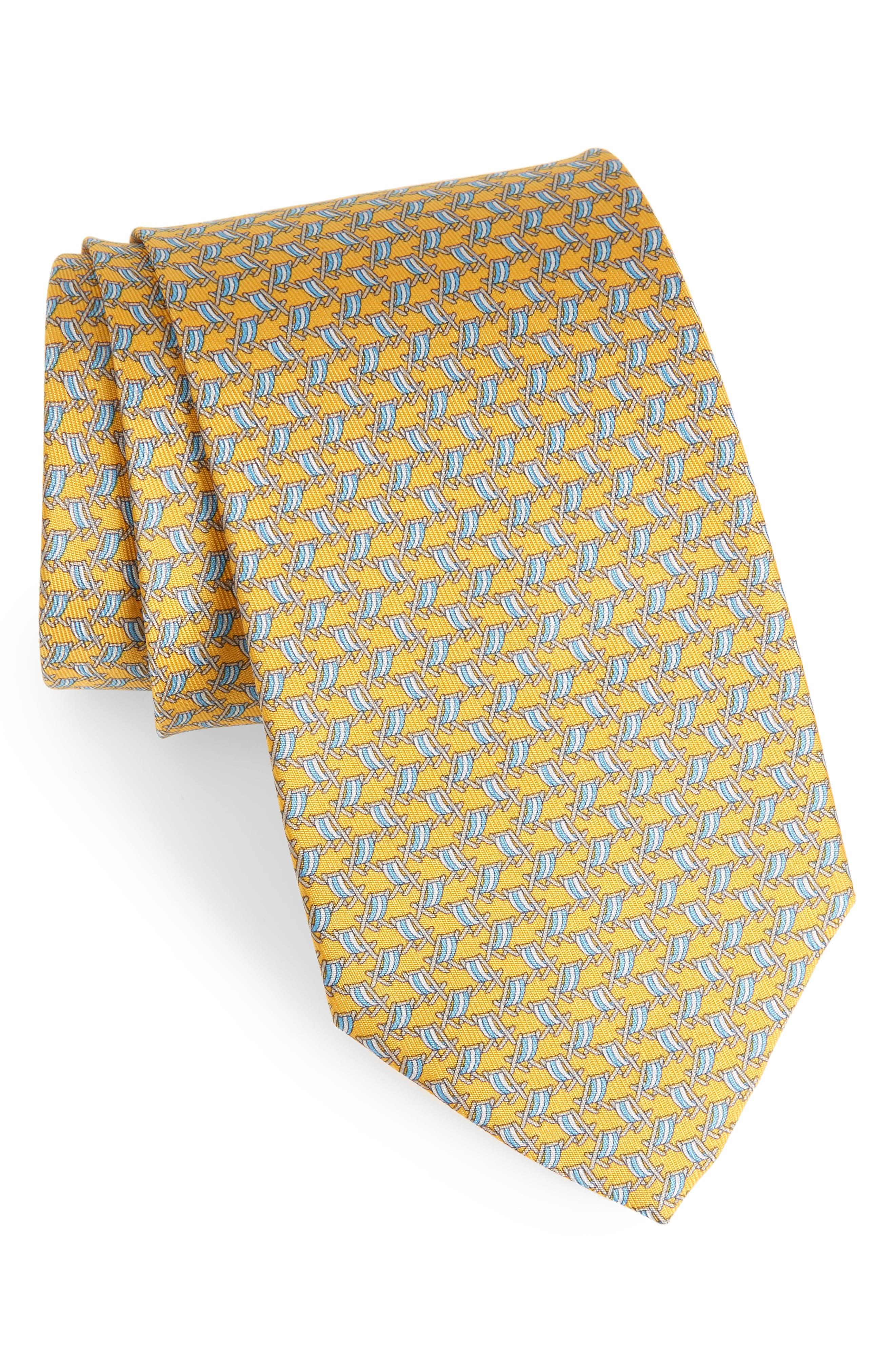 Ersilia Print Silk Tie,                         Main,                         color, Yellow