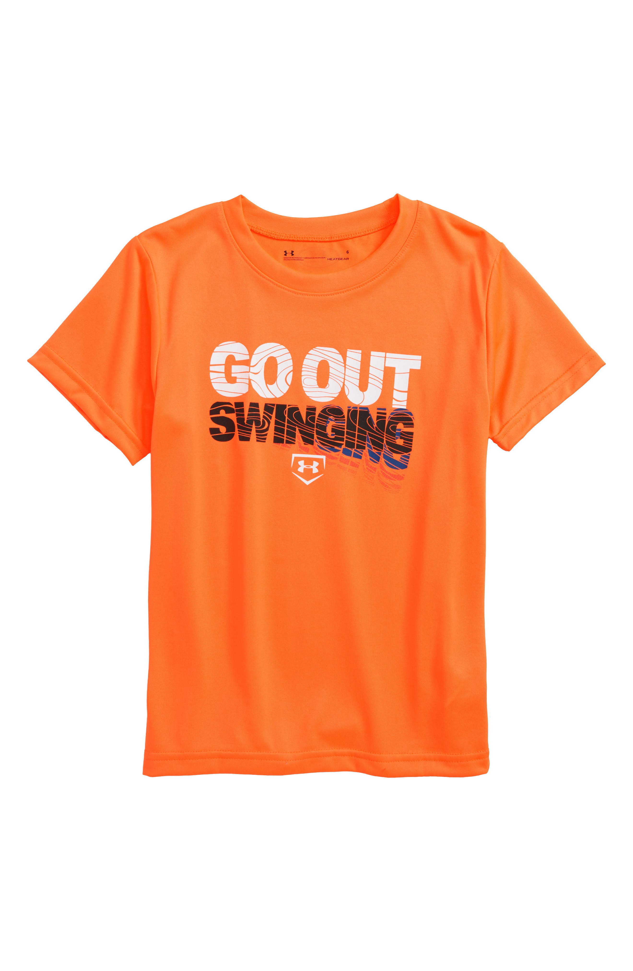 Go Out Swinging HeatGear<sup>®</sup> T-Shirt,                         Main,                         color, Magma Orange