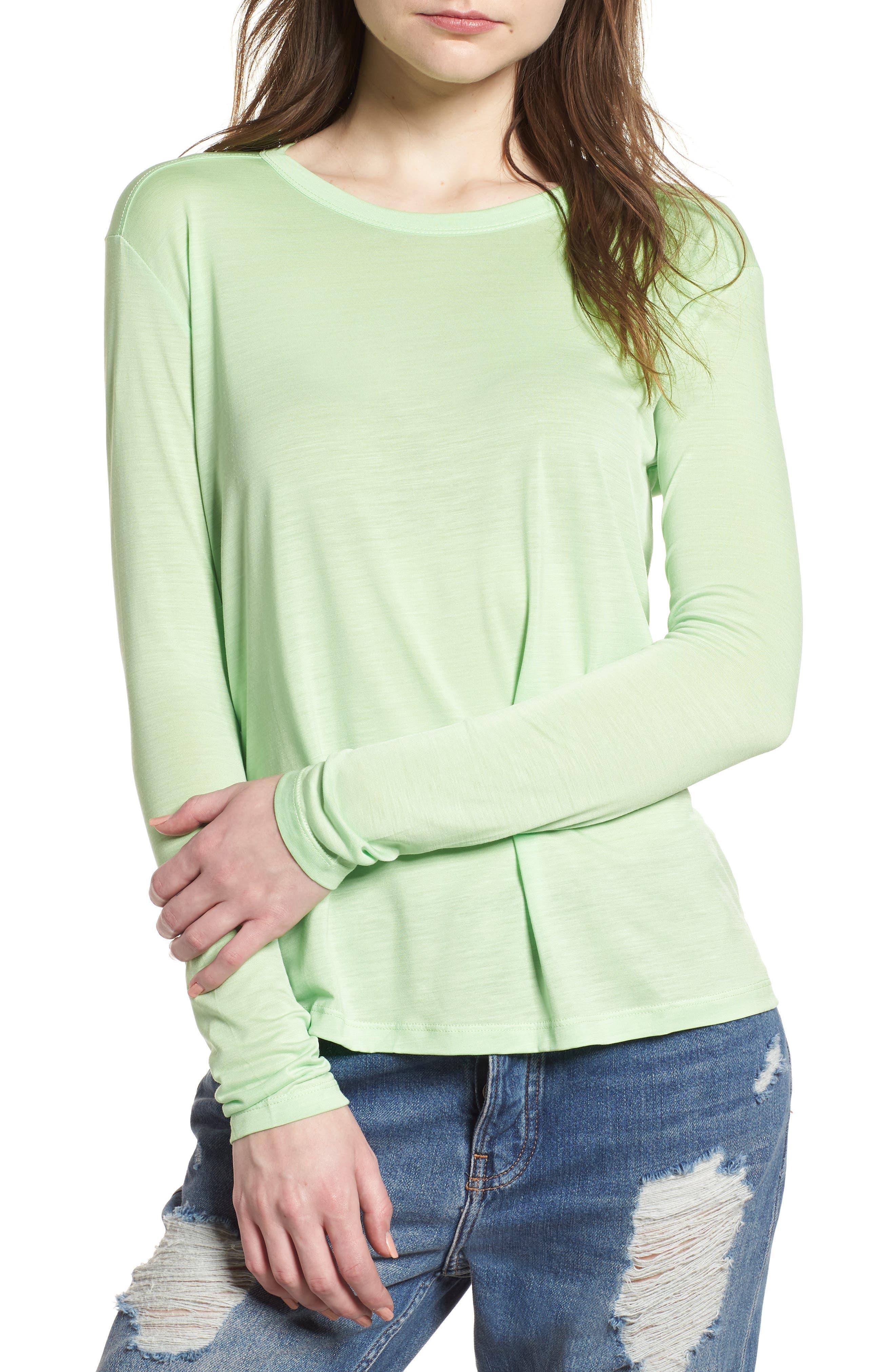 Lyocell Long Sleeve T-Shirt,                         Main,                         color, Lime