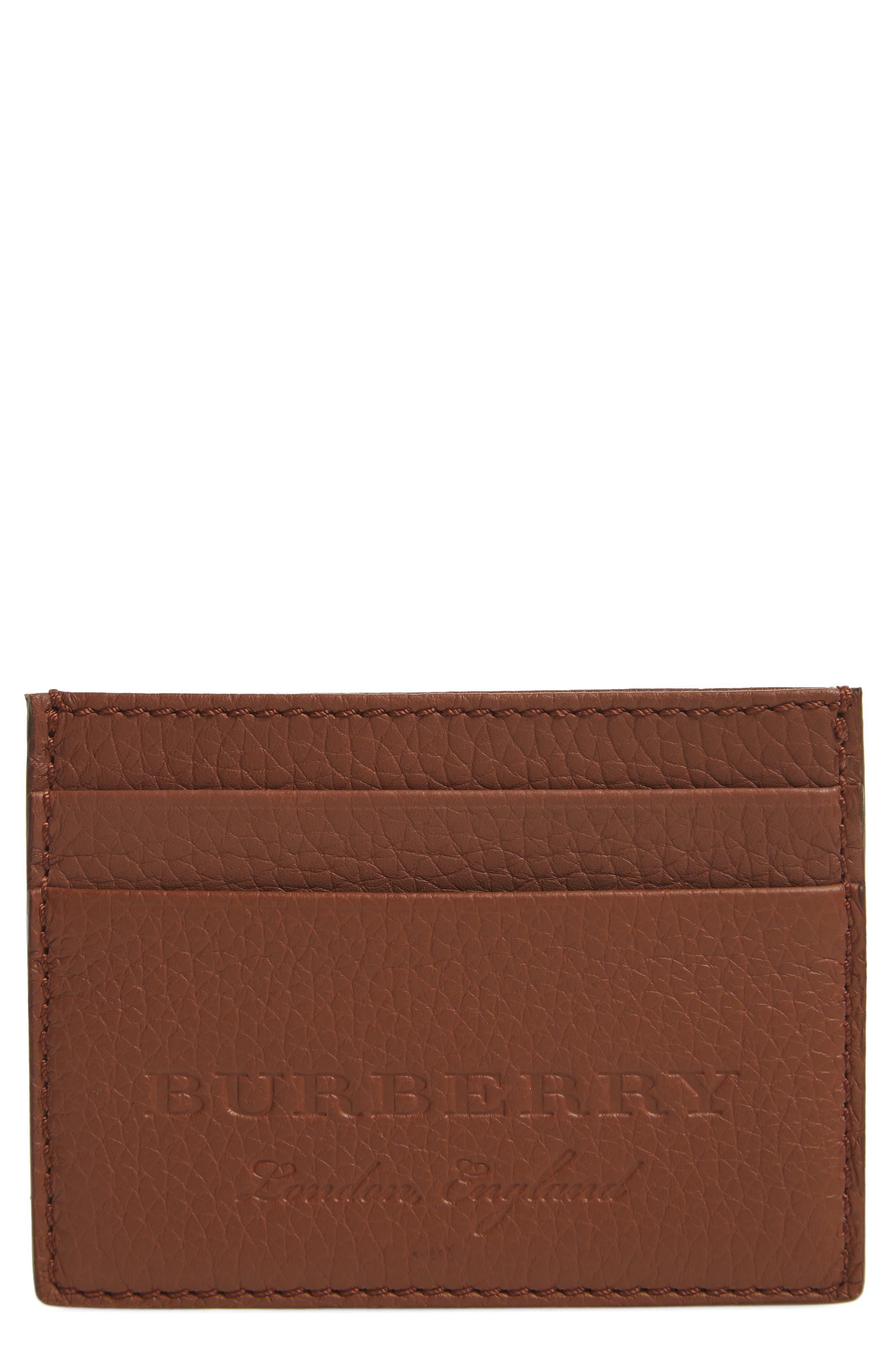 Sandon Leather Card Case,                             Main thumbnail 1, color,                             Chestnut Brown