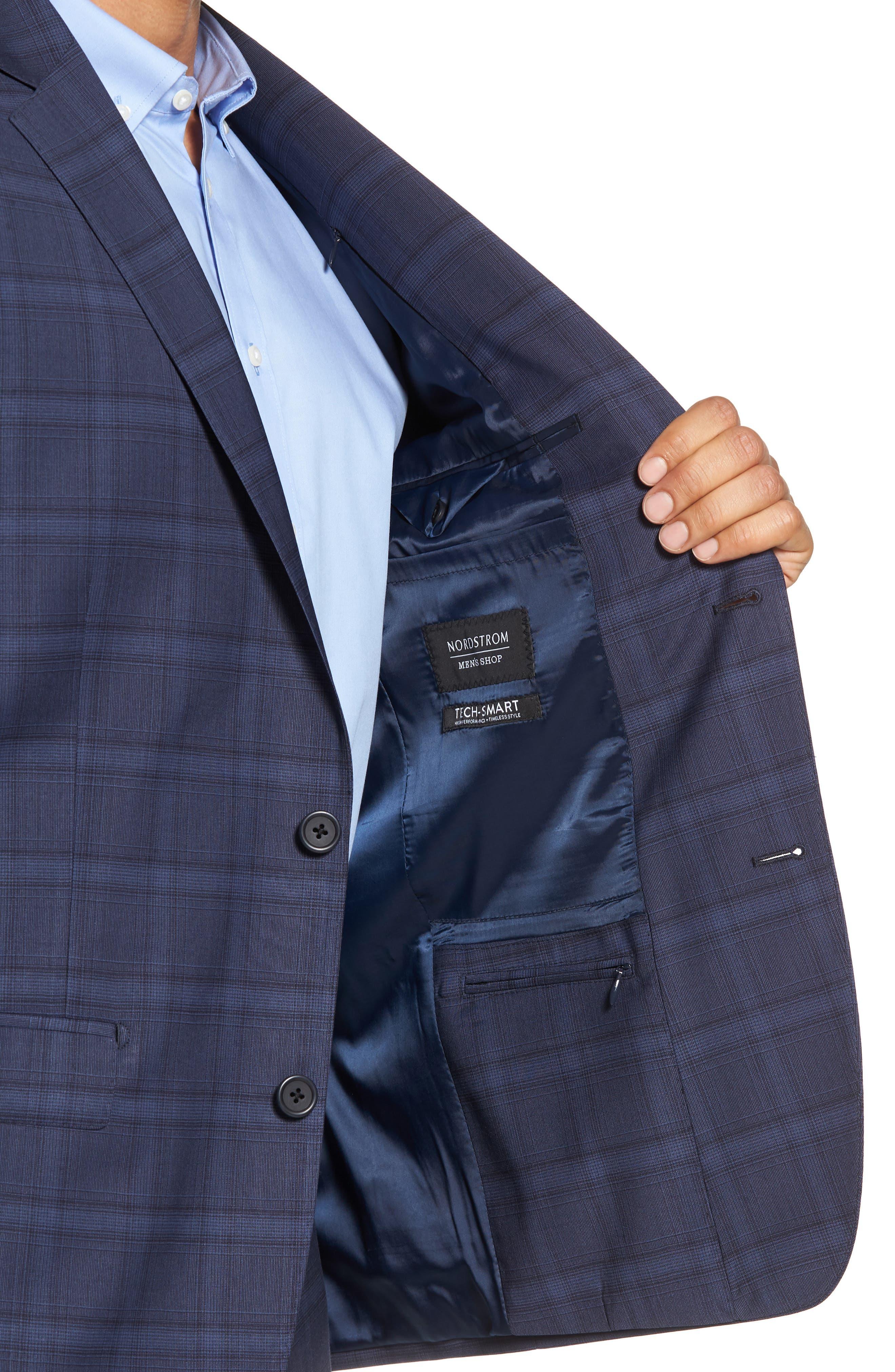 Trim Fit Plaid Stretch Wool Travel Suit,                             Alternate thumbnail 4, color,                             Navy