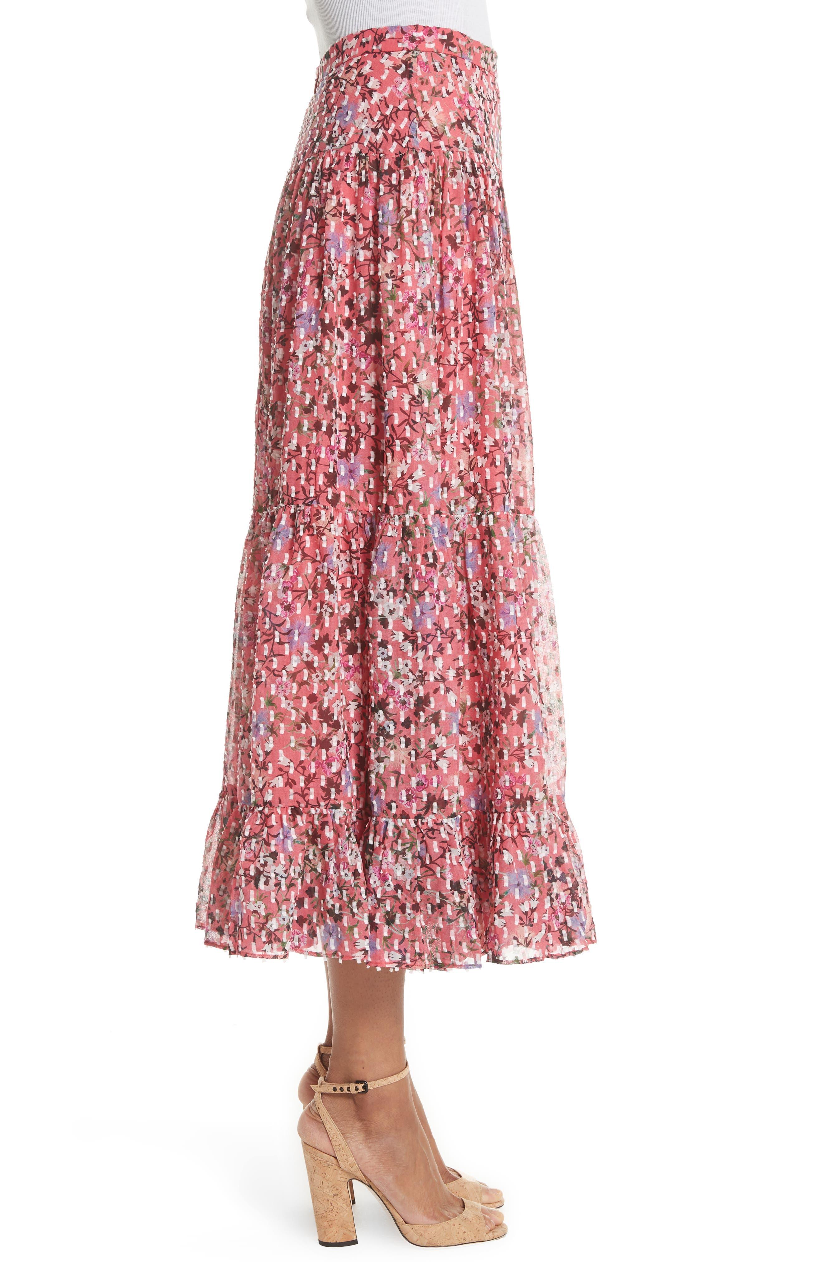 Andie Ruffle Hem Silk Blend Skirt,                             Alternate thumbnail 3, color,                             Coral Meadow