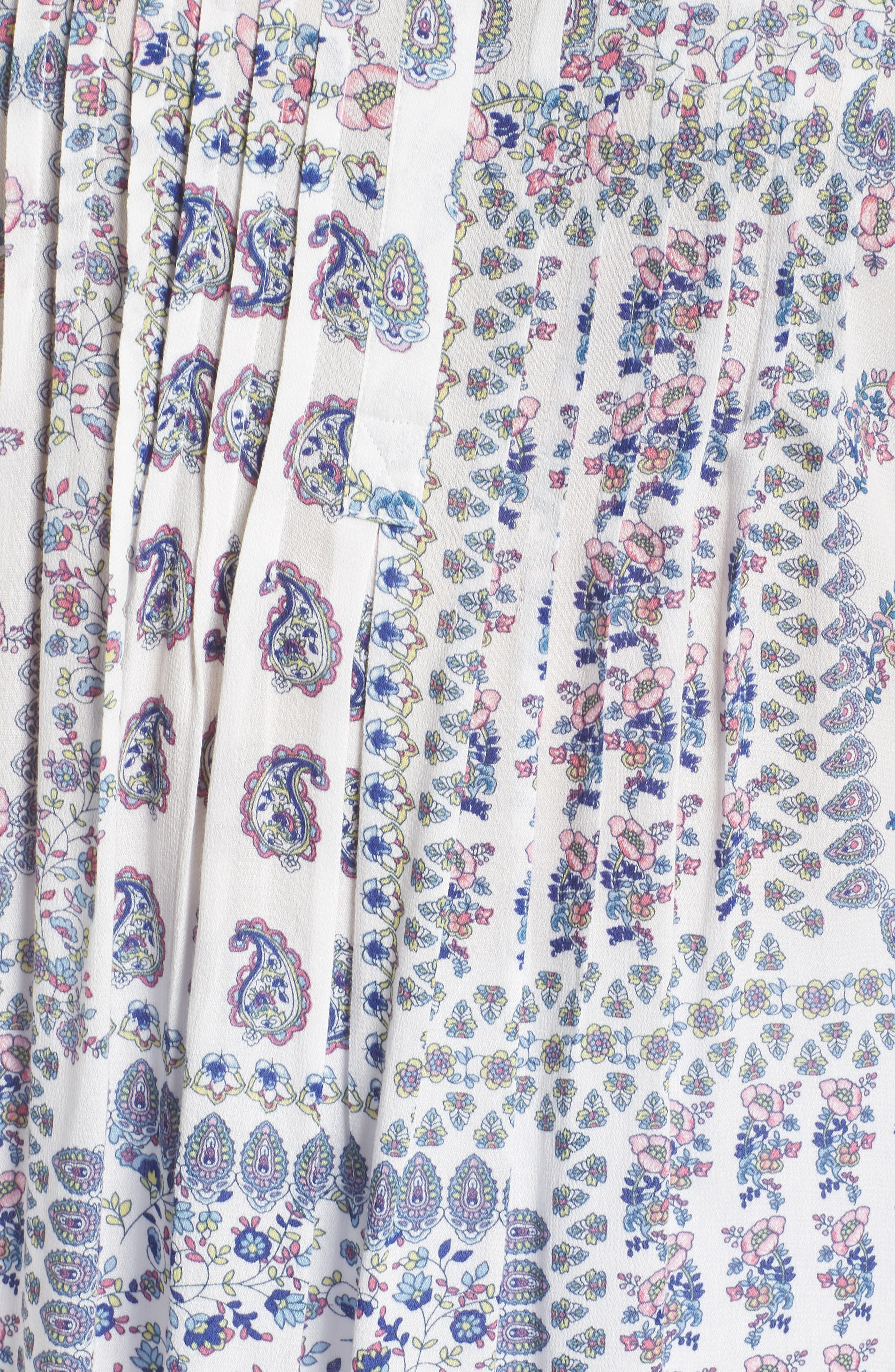 Floral Stripe Cap Sleeve Top,                             Alternate thumbnail 4, color,                             D924n Ivory