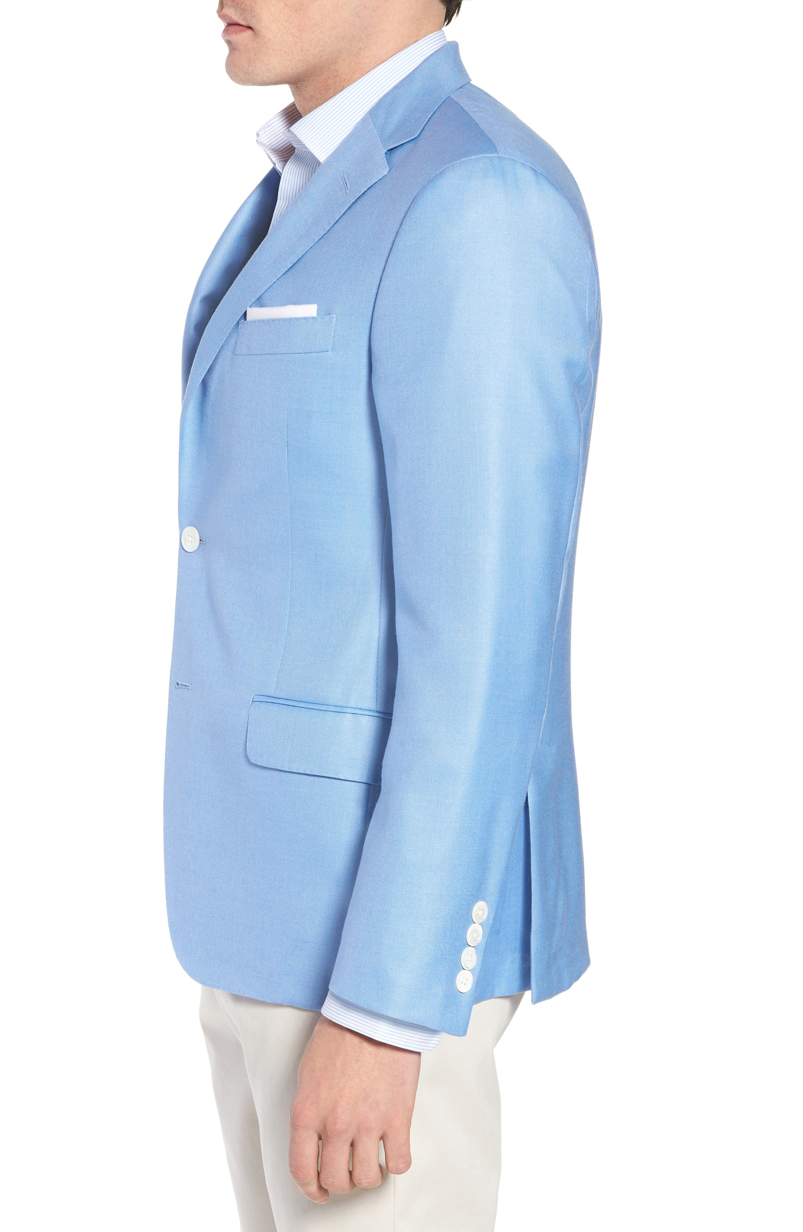 Classic B Fit Wool & Silk Blazer,                             Alternate thumbnail 3, color,                             Light Blue Solid
