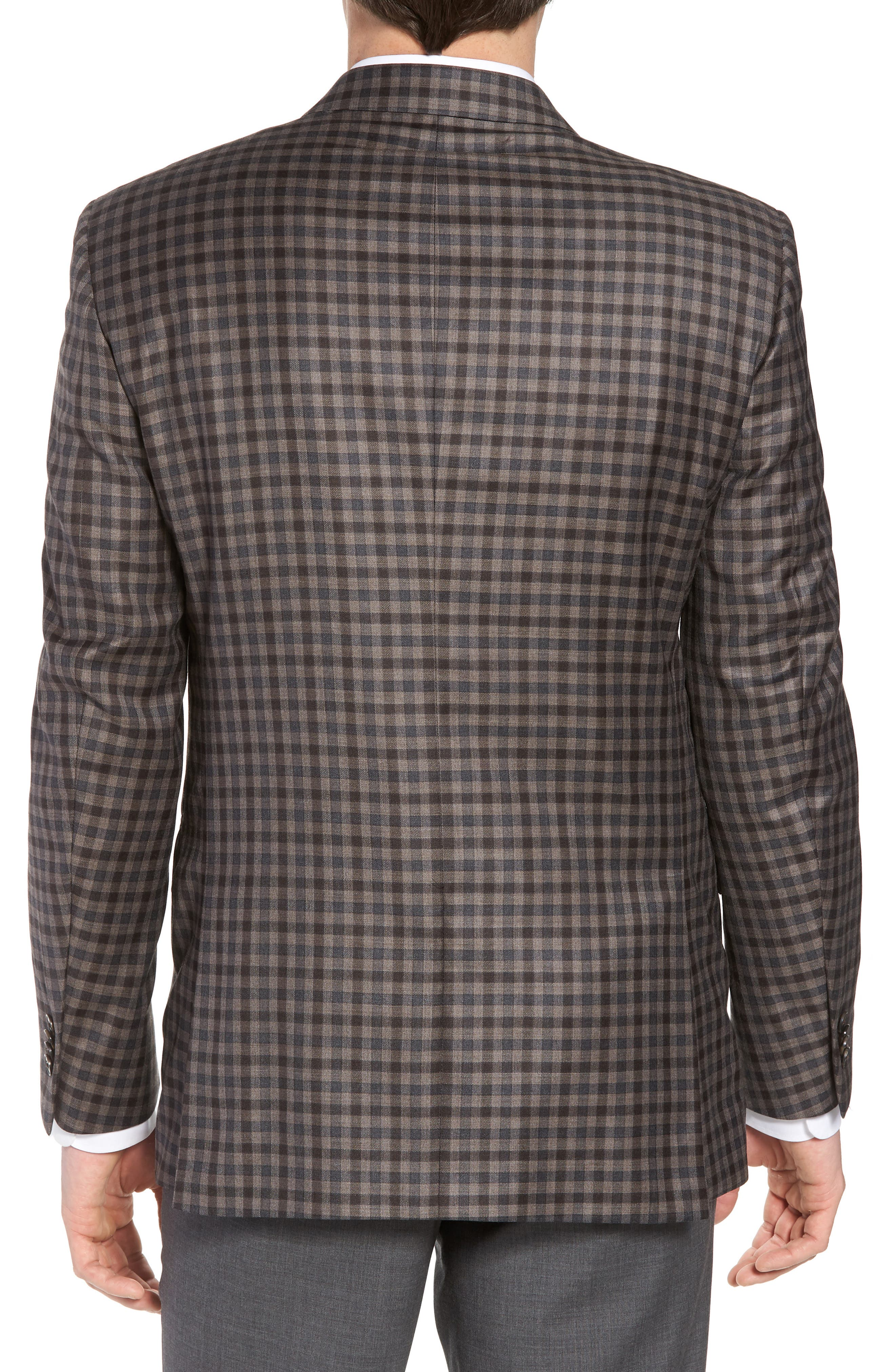 Classic Fit Check Wool Sport Coat,                             Alternate thumbnail 2, color,                             Brown/Grey
