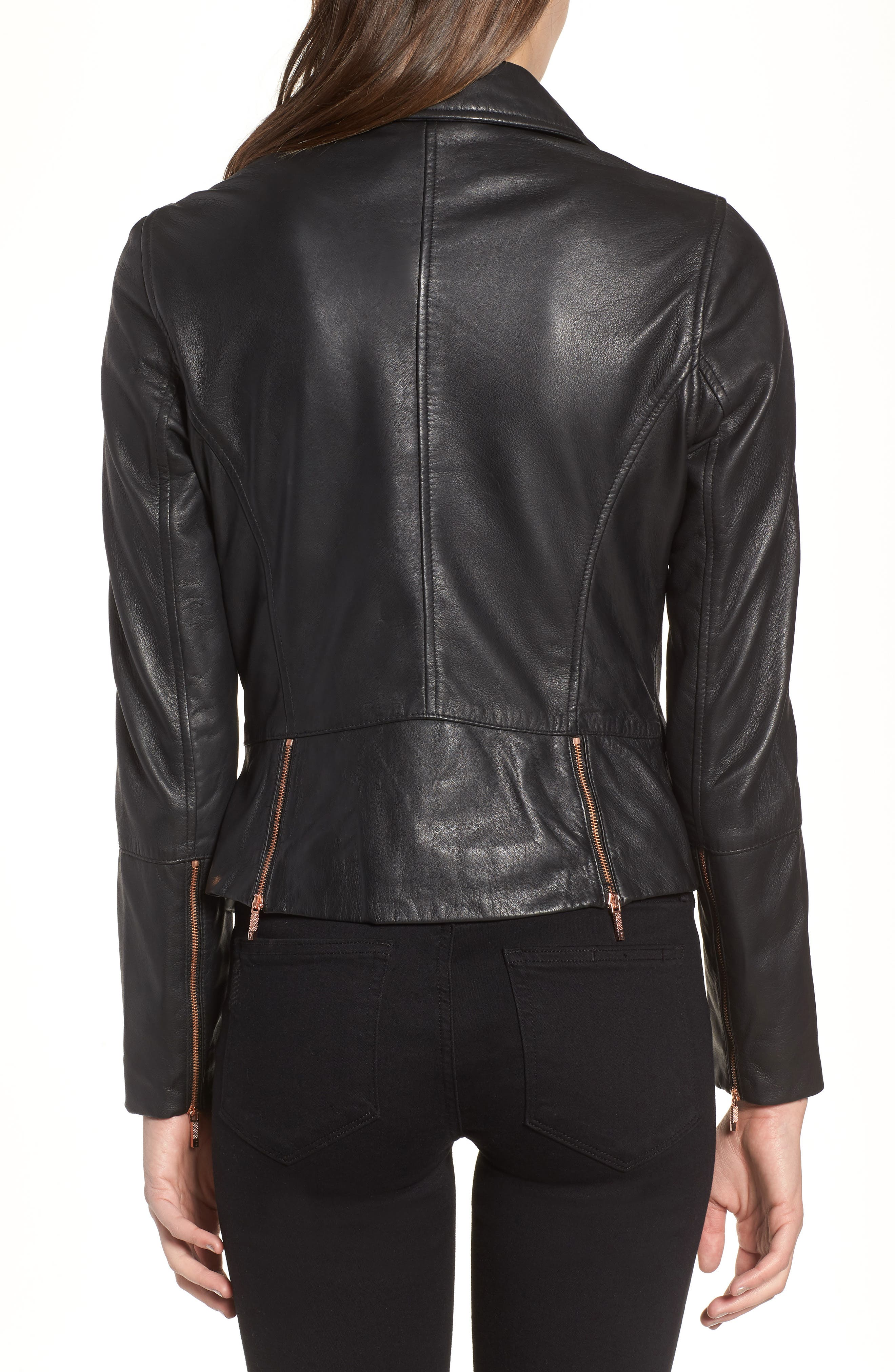 Alternate Image 2  - Ted Baker London Lizia Leather Biker Jacket
