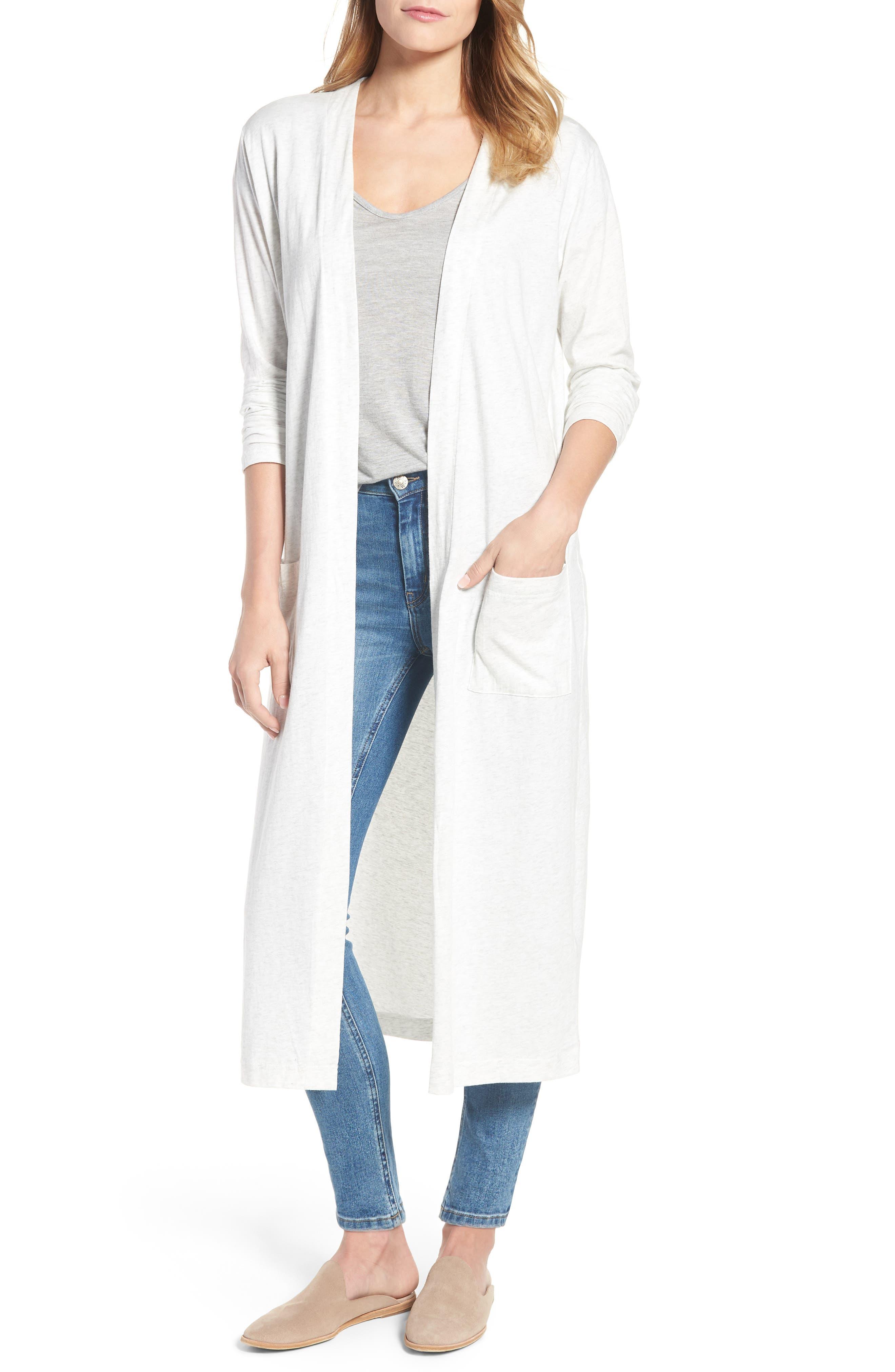 Long Cotton Blend Cardigan,                         Main,                         color, Air Grey Mix