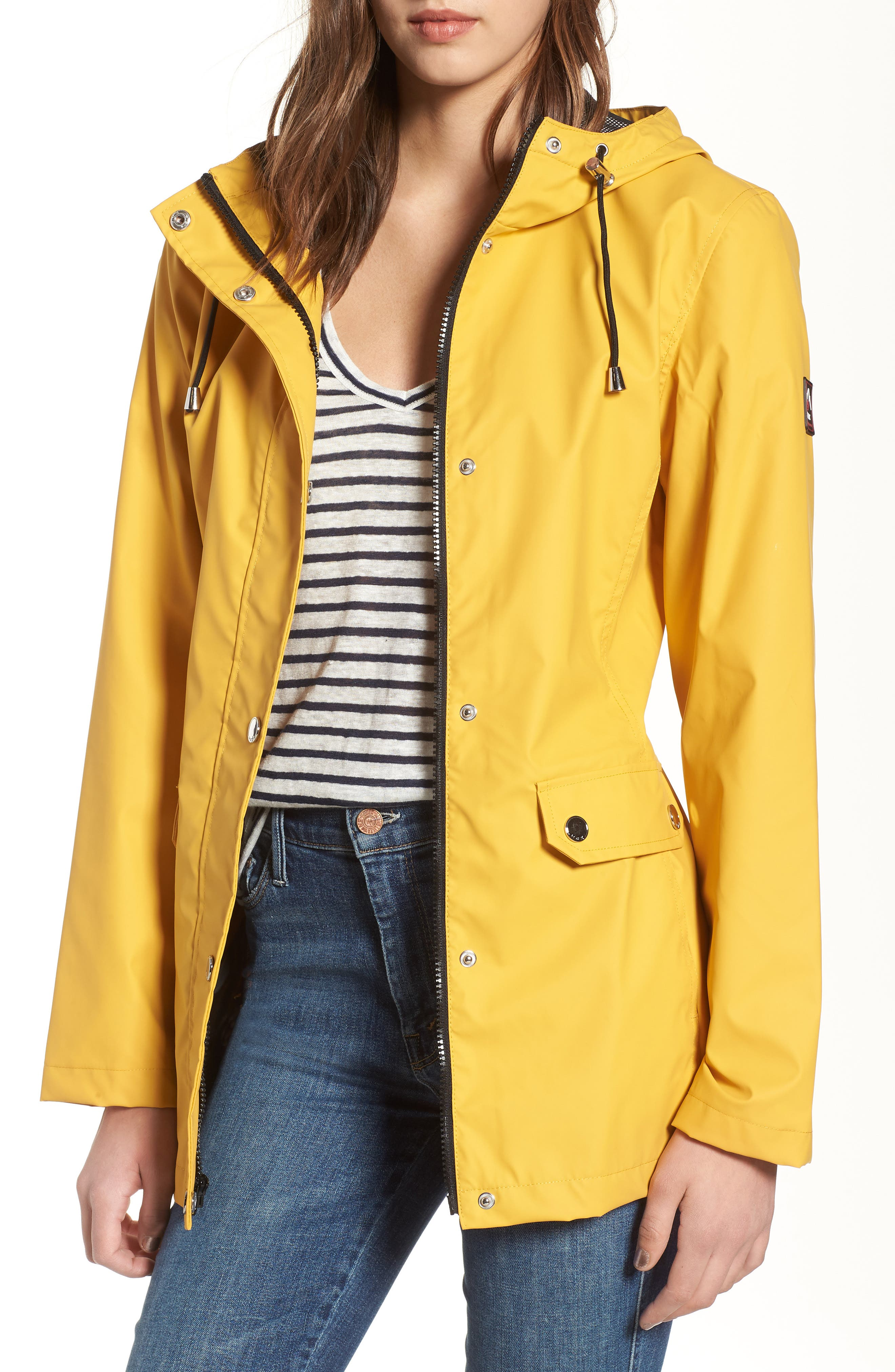 Hooded Raincoat,                         Main,                         color, Yellow