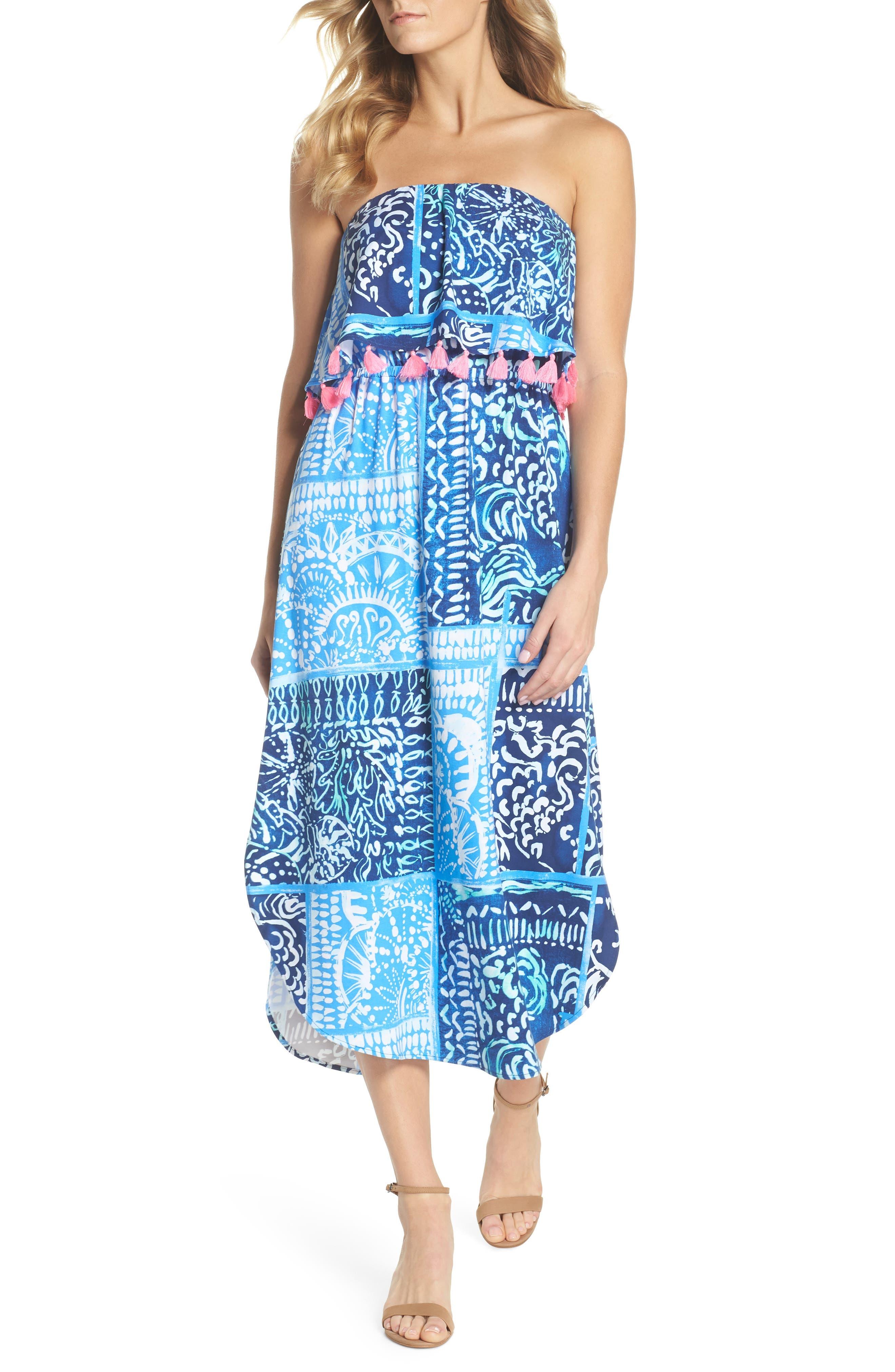 Meridian Strapless Midi Dress,                             Main thumbnail 1, color,                             Deep Indigo Leid Back