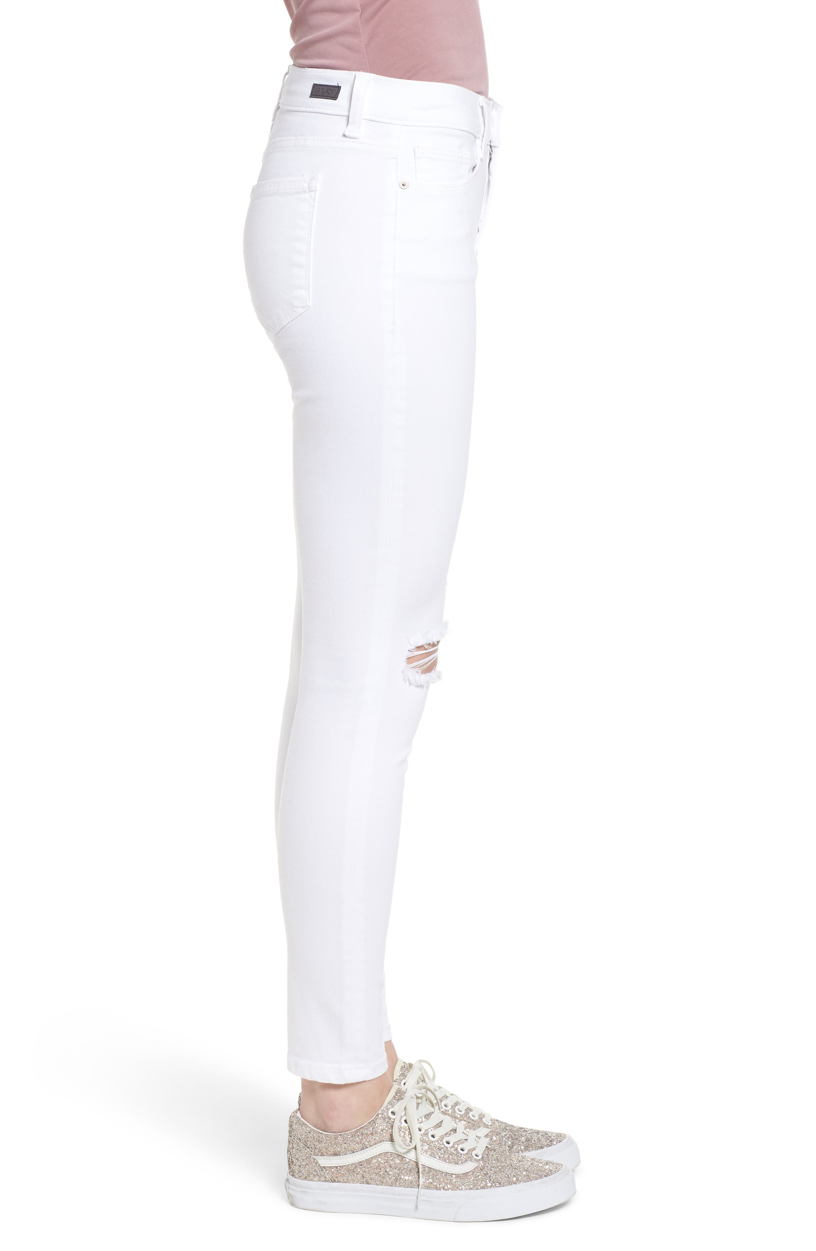 Open Knee Skinny Jeans,                             Alternate thumbnail 3, color,                             White