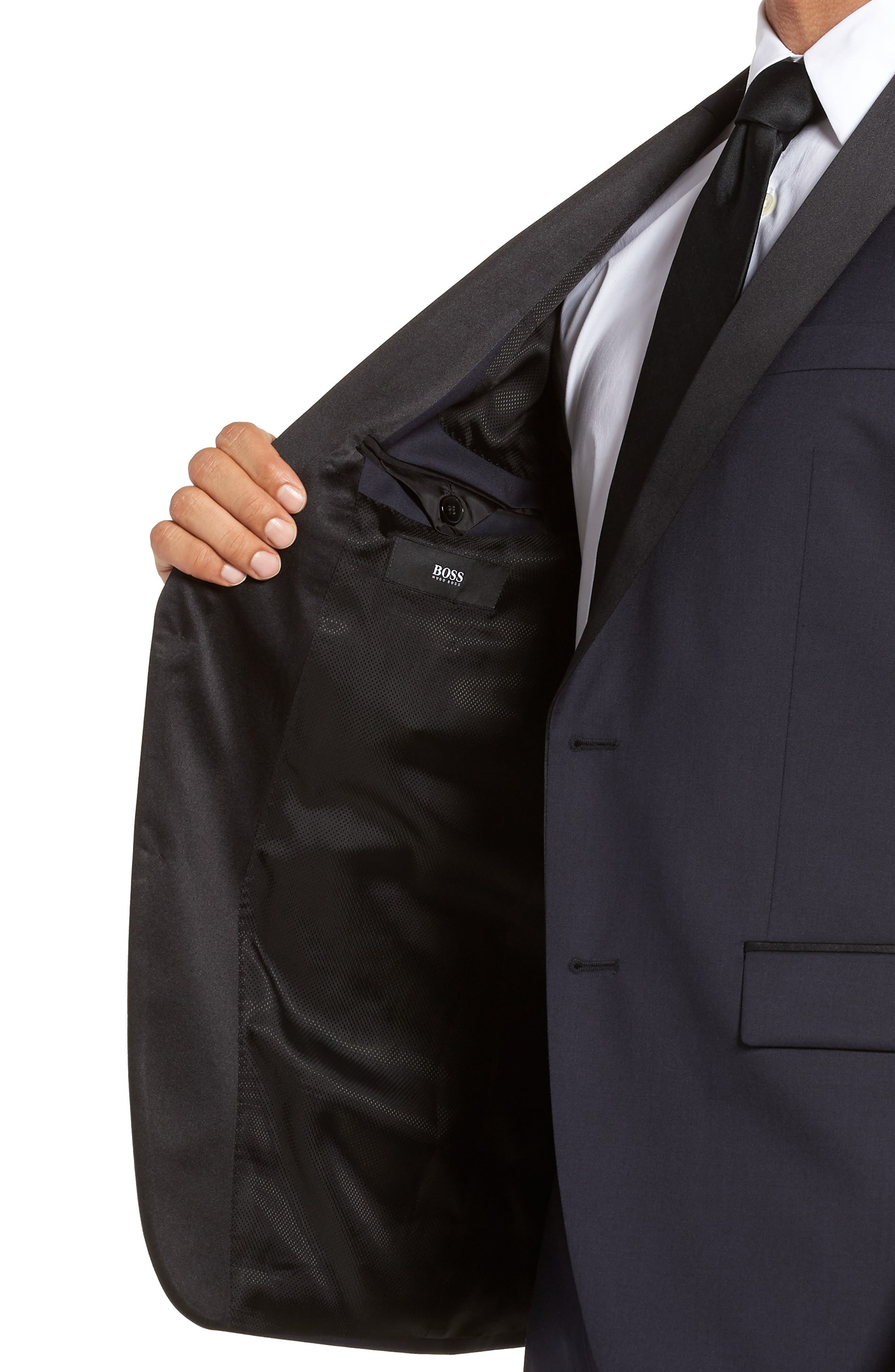 Hence CYL Trim Fit Wool Dinner Jacket,                             Alternate thumbnail 4, color,                             Dark Blue