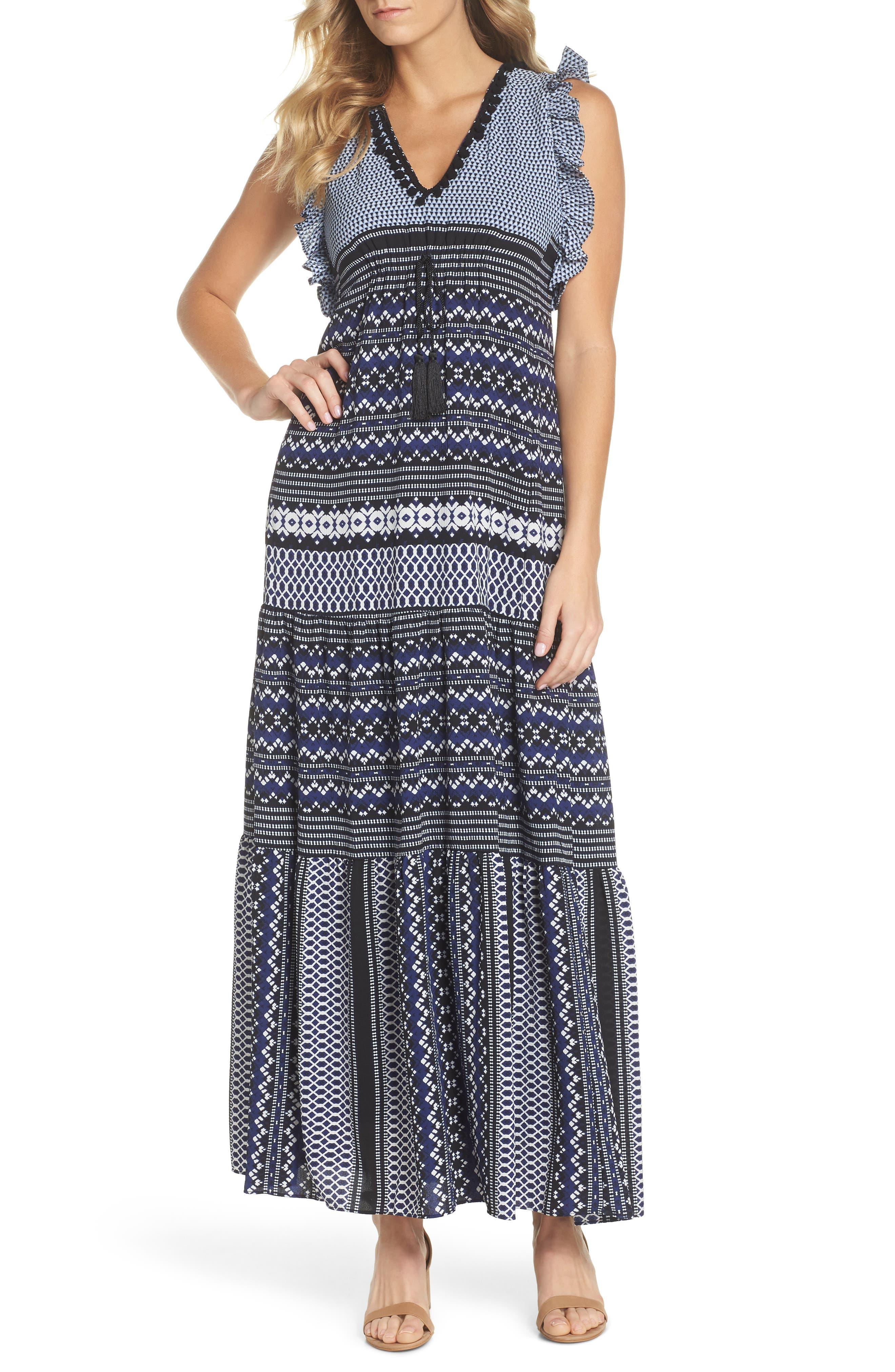 Mixed Print Ruffle Maxi Dress,                         Main,                         color, Navy Black