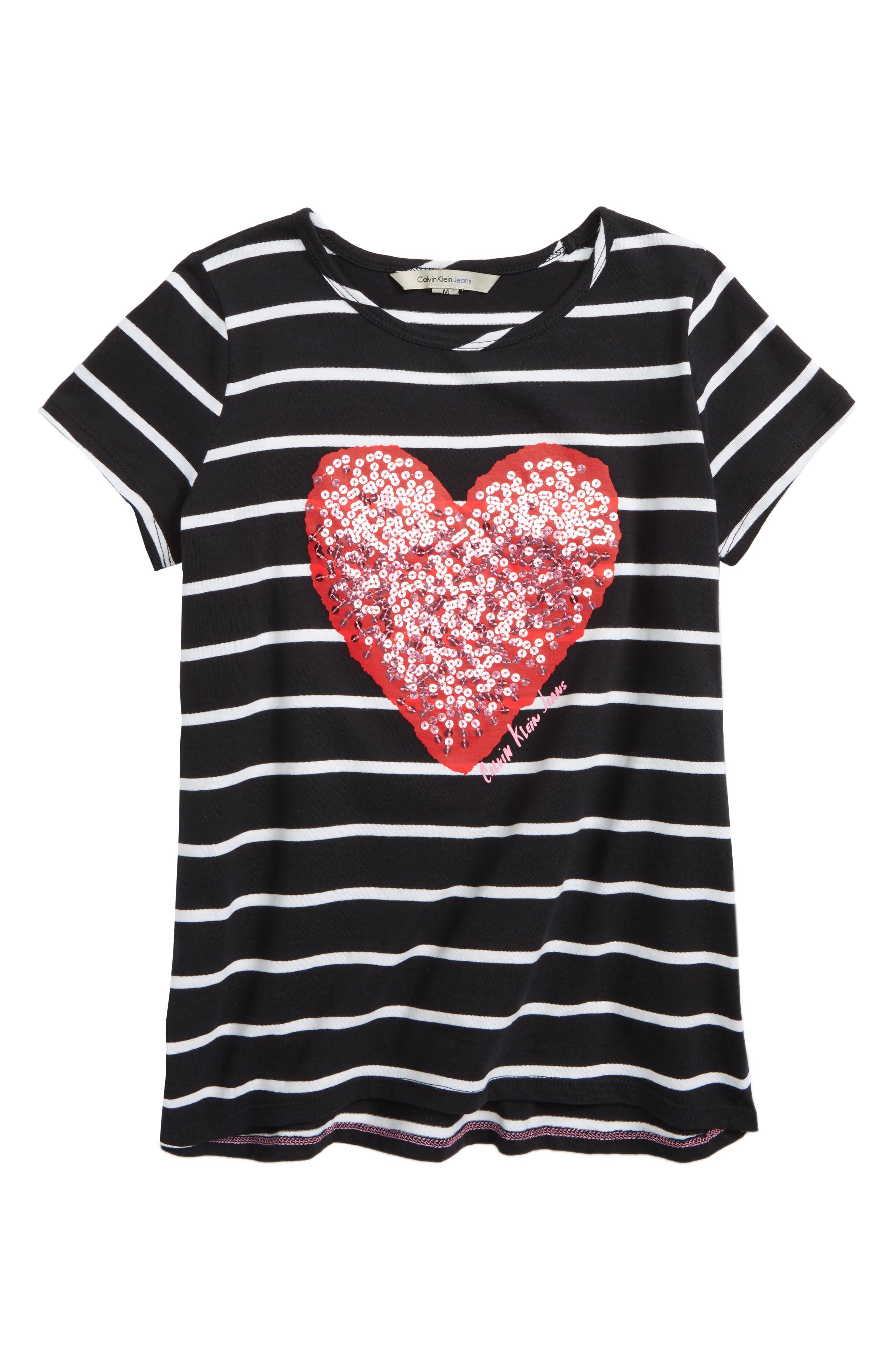 Calvin Klein Stripe Sequin Heart Tee (Big Girls)