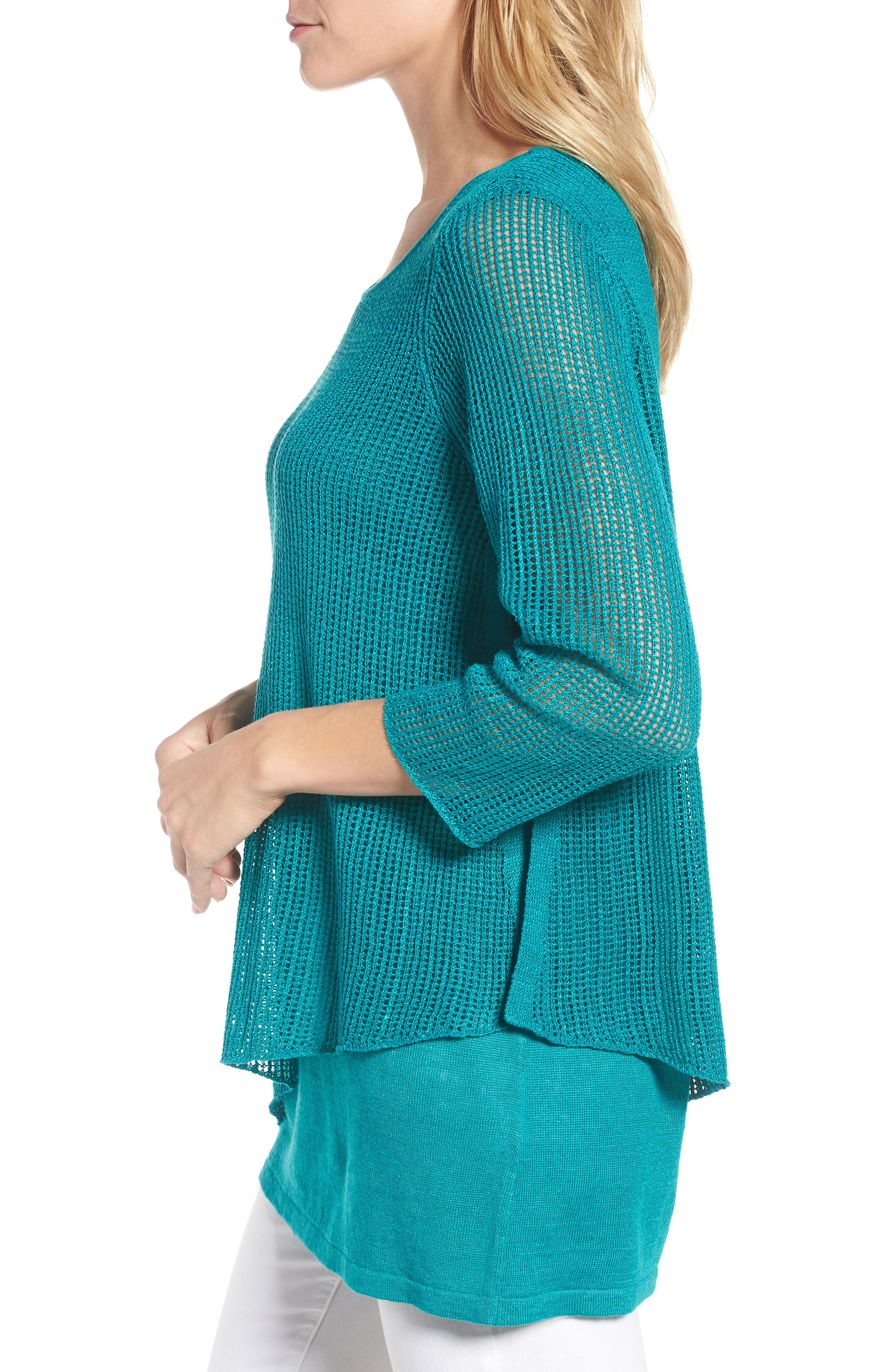 Organic Linen Tunic Sweater,                             Alternate thumbnail 3, color,                             Turquoise