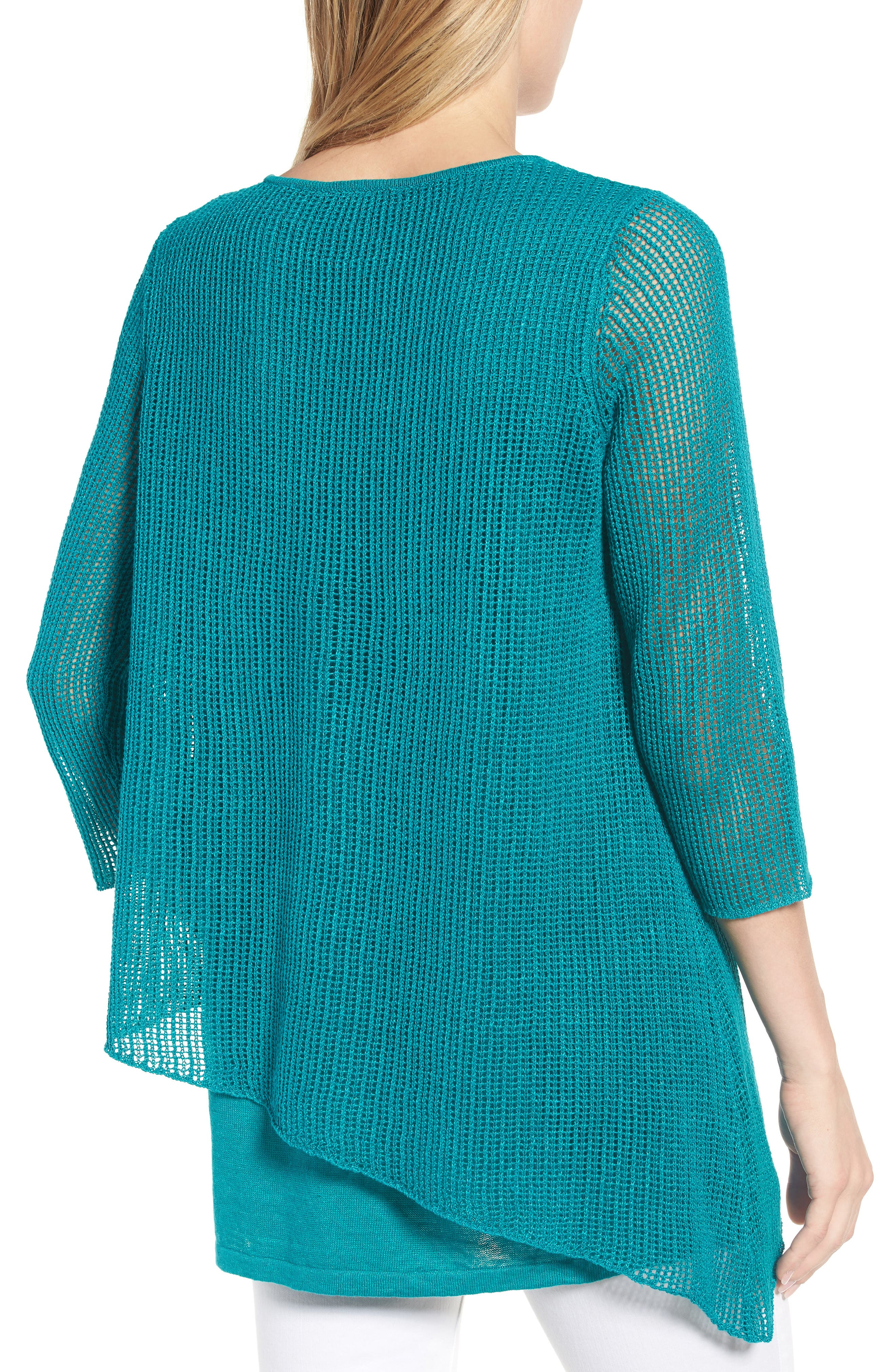 Organic Linen Tunic Sweater,                             Alternate thumbnail 2, color,                             Turquoise