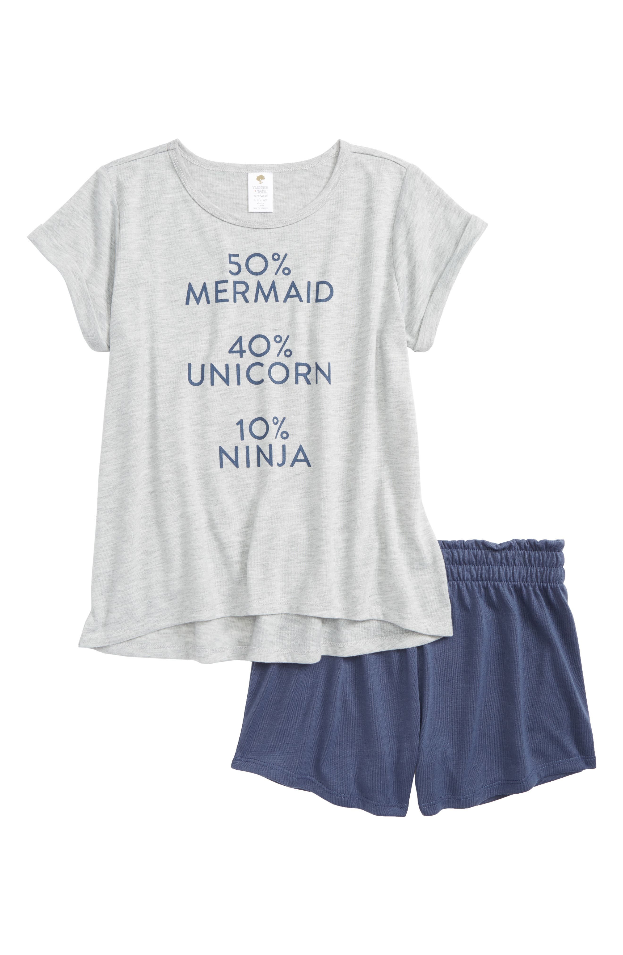 Short Pajamas,                             Main thumbnail 1, color,                             Grey Ash Heather Ninja