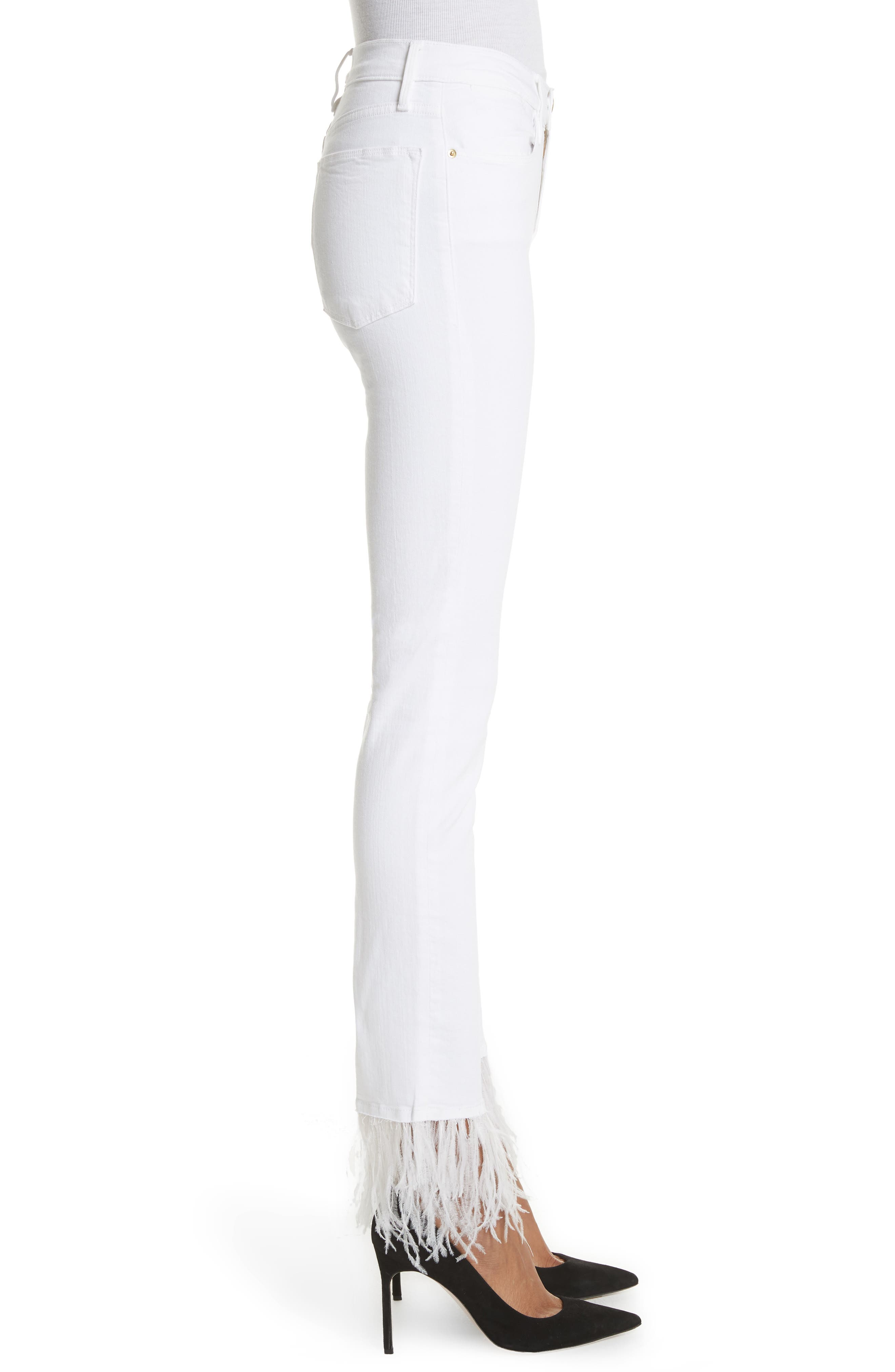 Le High Straight Feather Hem Jeans,                             Alternate thumbnail 3, color,                             Blanc