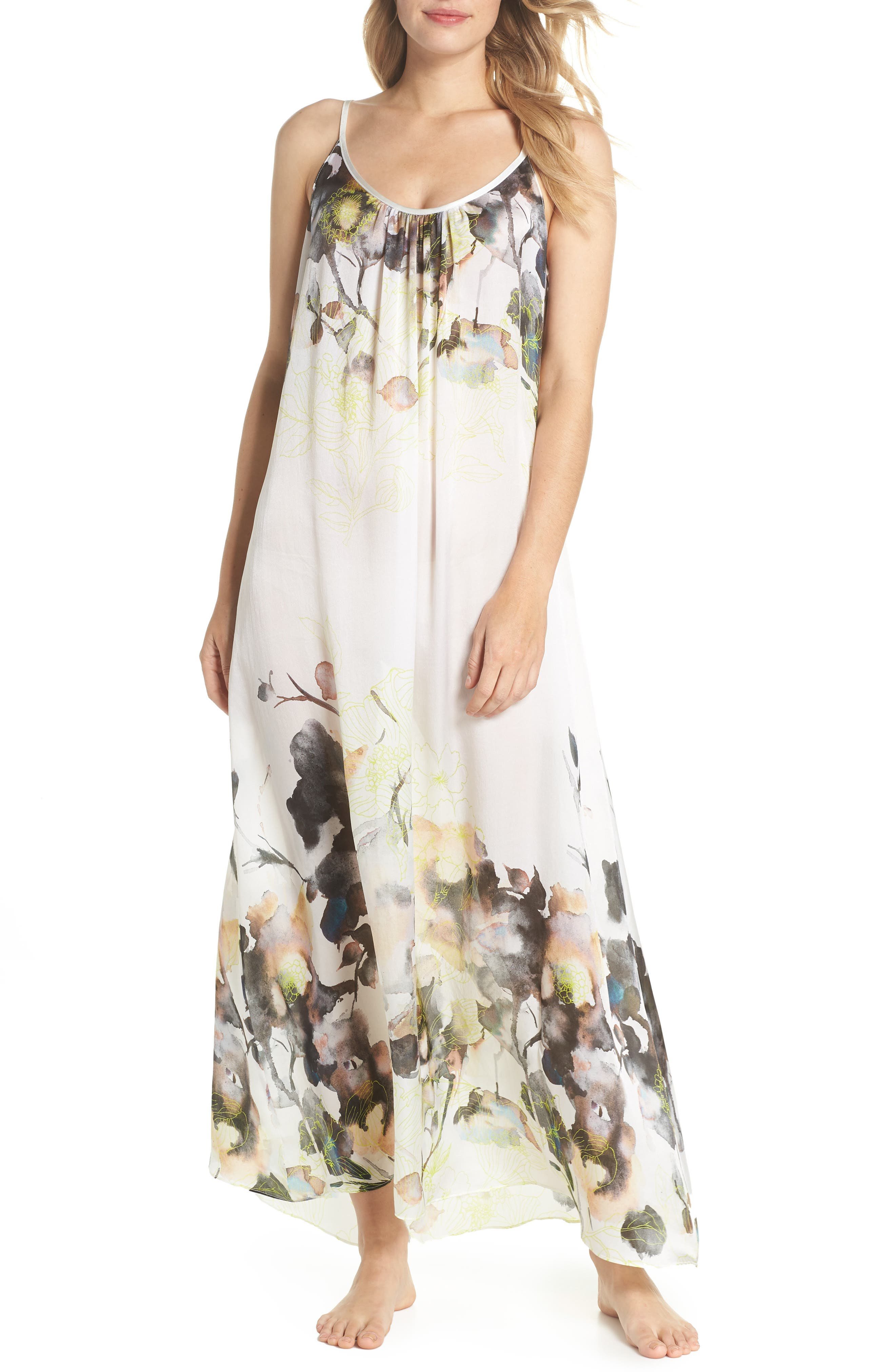Floral Print Silk Nightgown,                             Main thumbnail 1, color,                             Limelight Print
