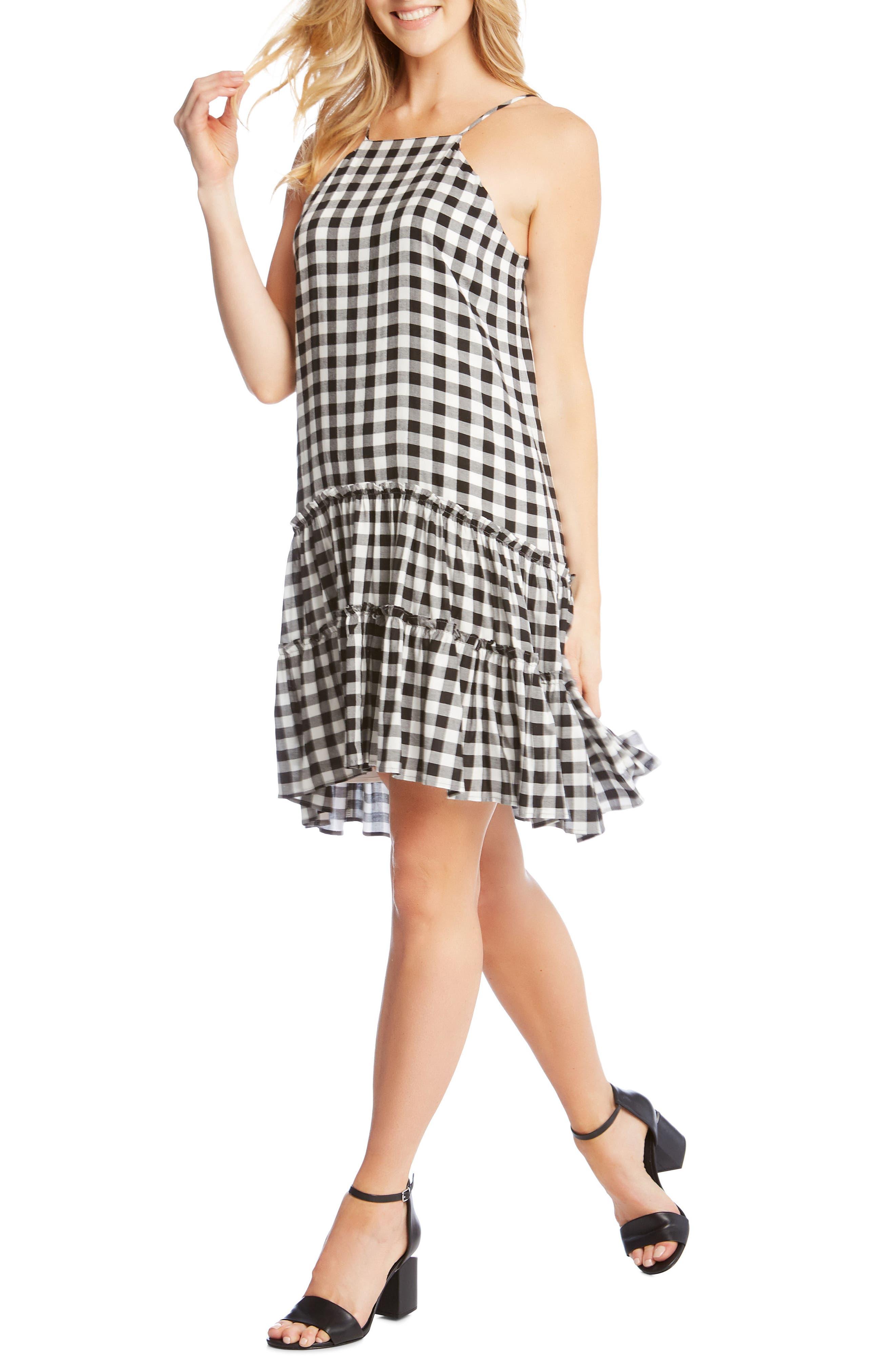 Gingham Ruffle Hem Halter Top Dress,                             Alternate thumbnail 3, color,                             Check