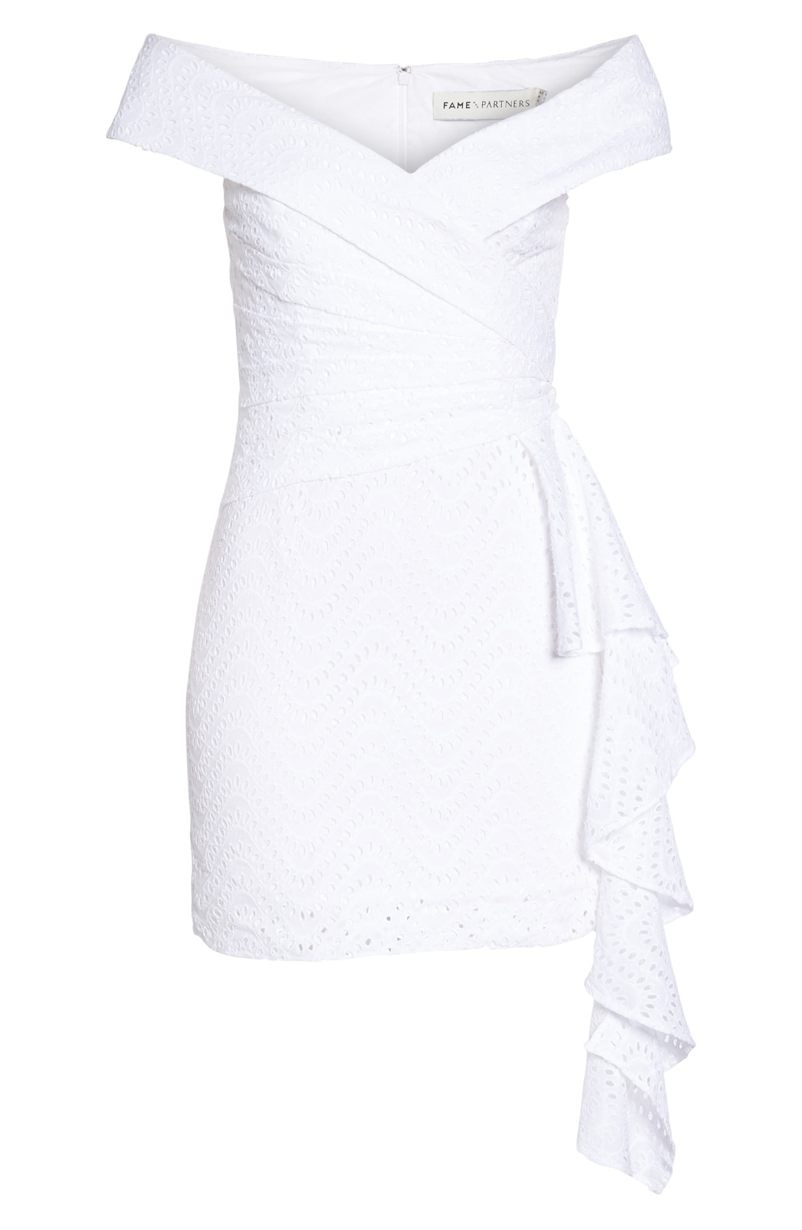 Mazzy Off the Shoulder Eyelet Dress,                             Alternate thumbnail 6, color,                             Ivory