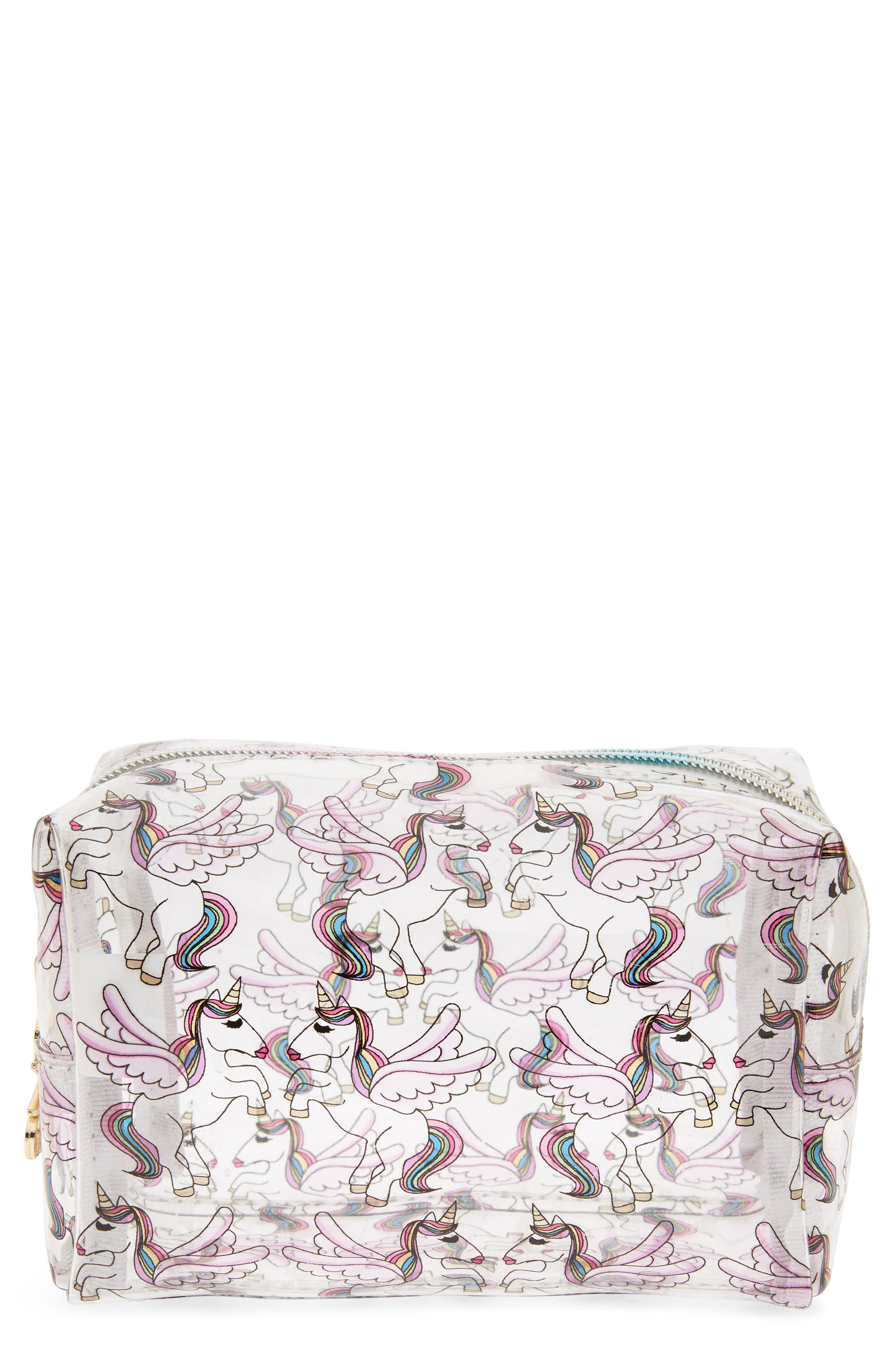 Unicorn Cosmetics Case,                             Main thumbnail 1, color,                             Multi