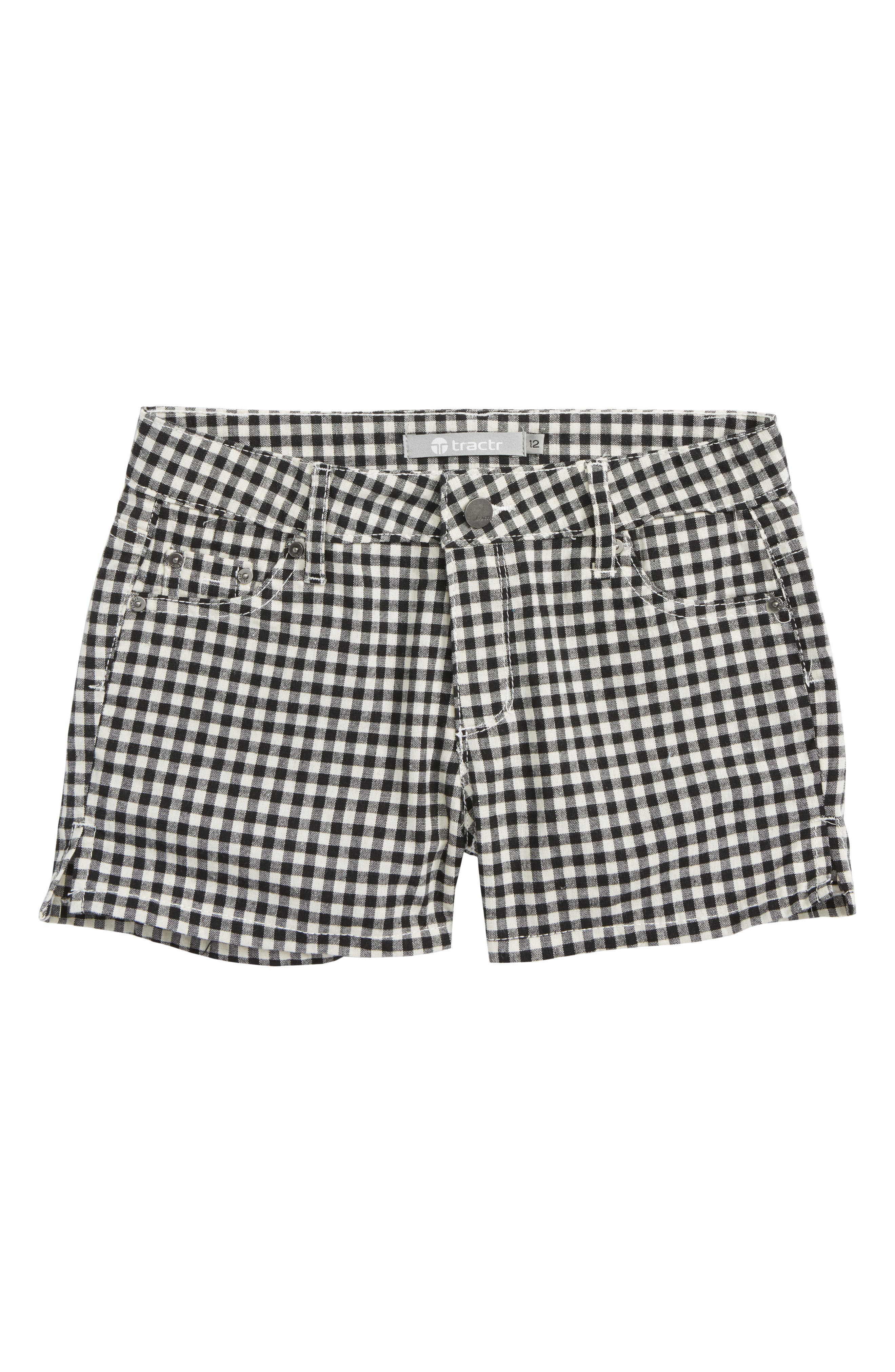 Gingham Shorts,                         Main,                         color, Black/ White