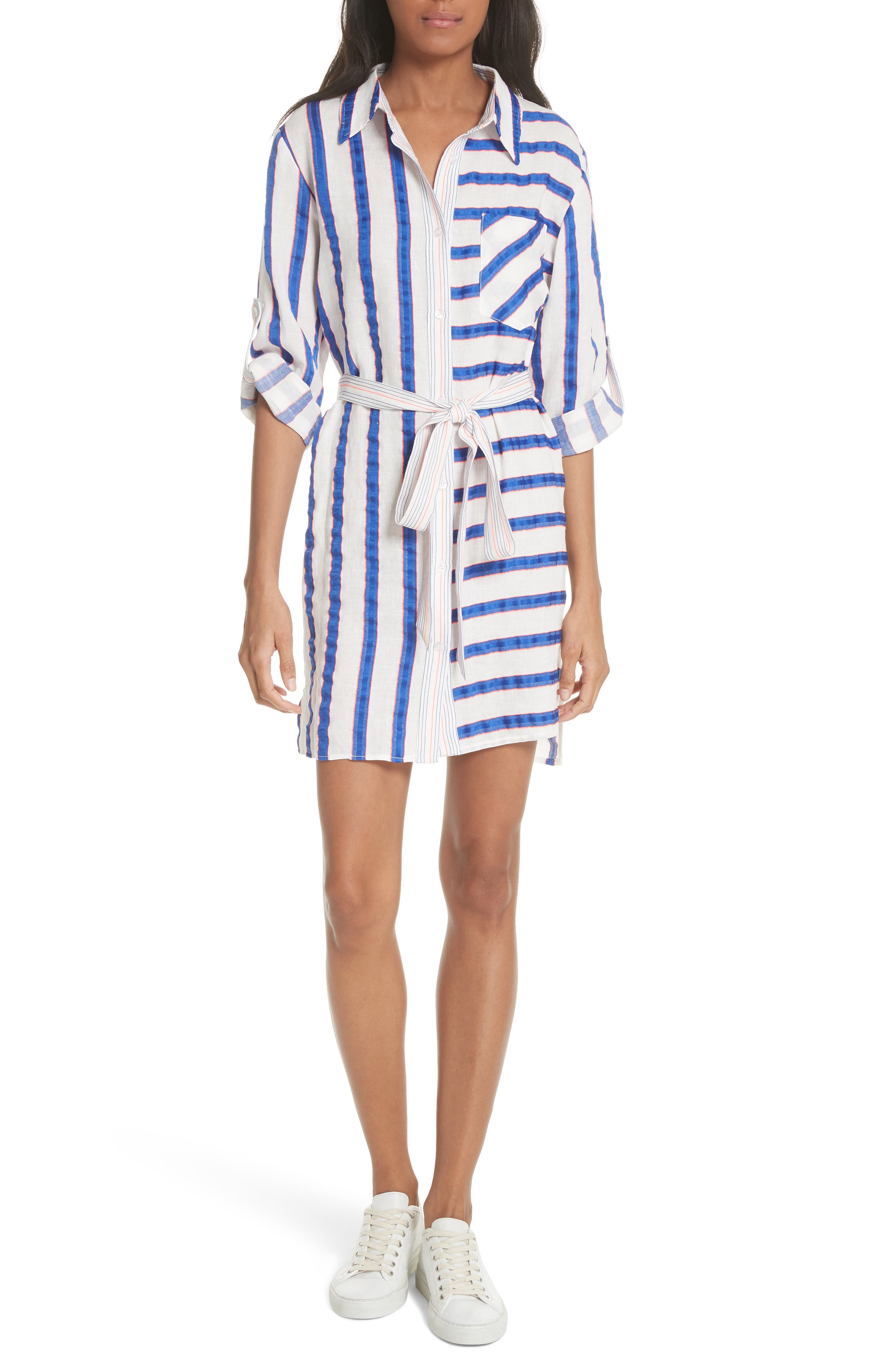 Milly Stripe Belted Washed Linen Shirtdress