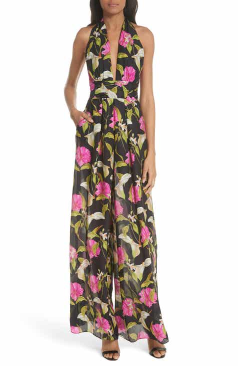 Milly Large Calla Lily Silk Halter Jumpsuit