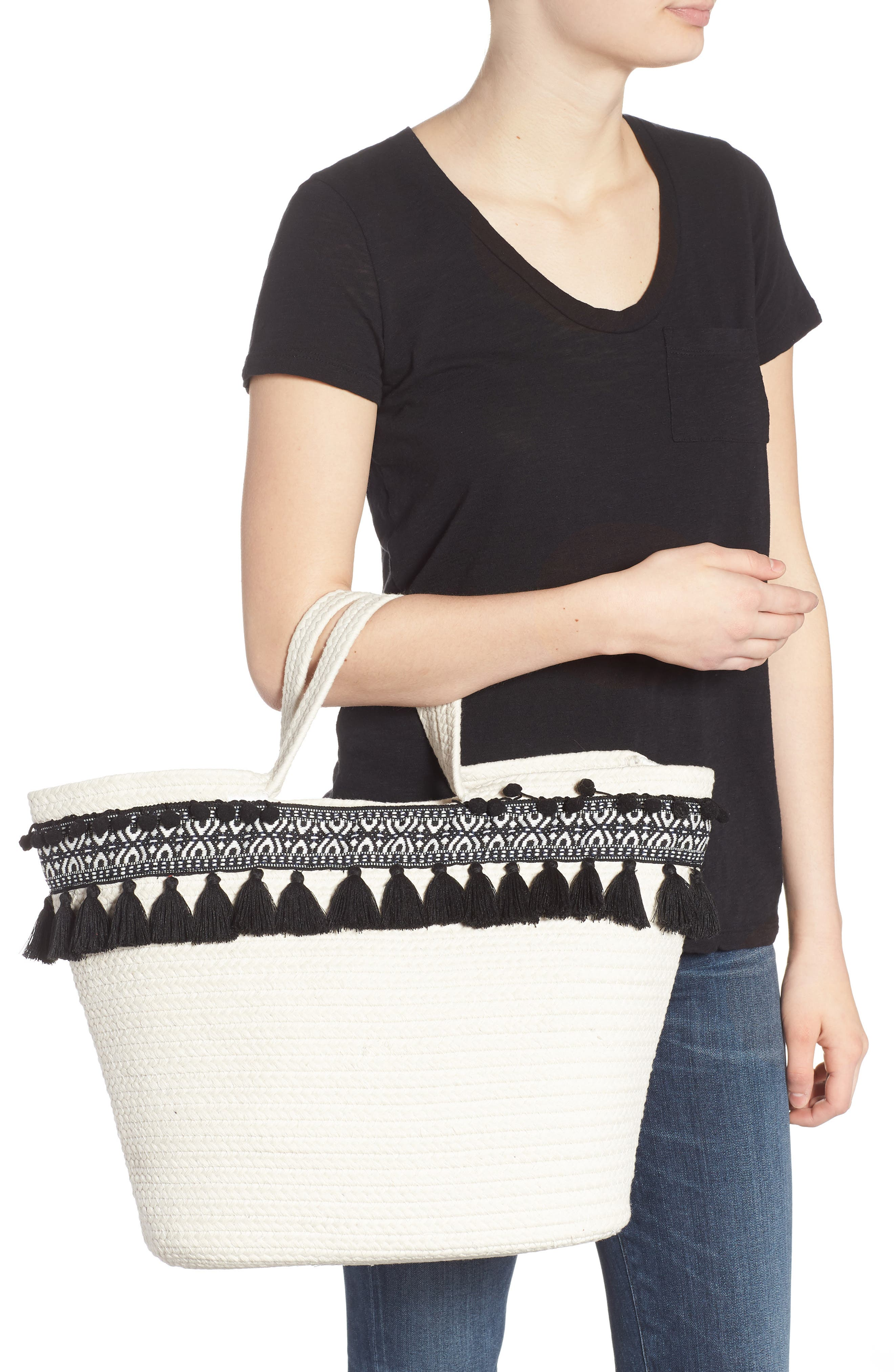 Caicos Woven Tote,                             Alternate thumbnail 2, color,                             Ivory