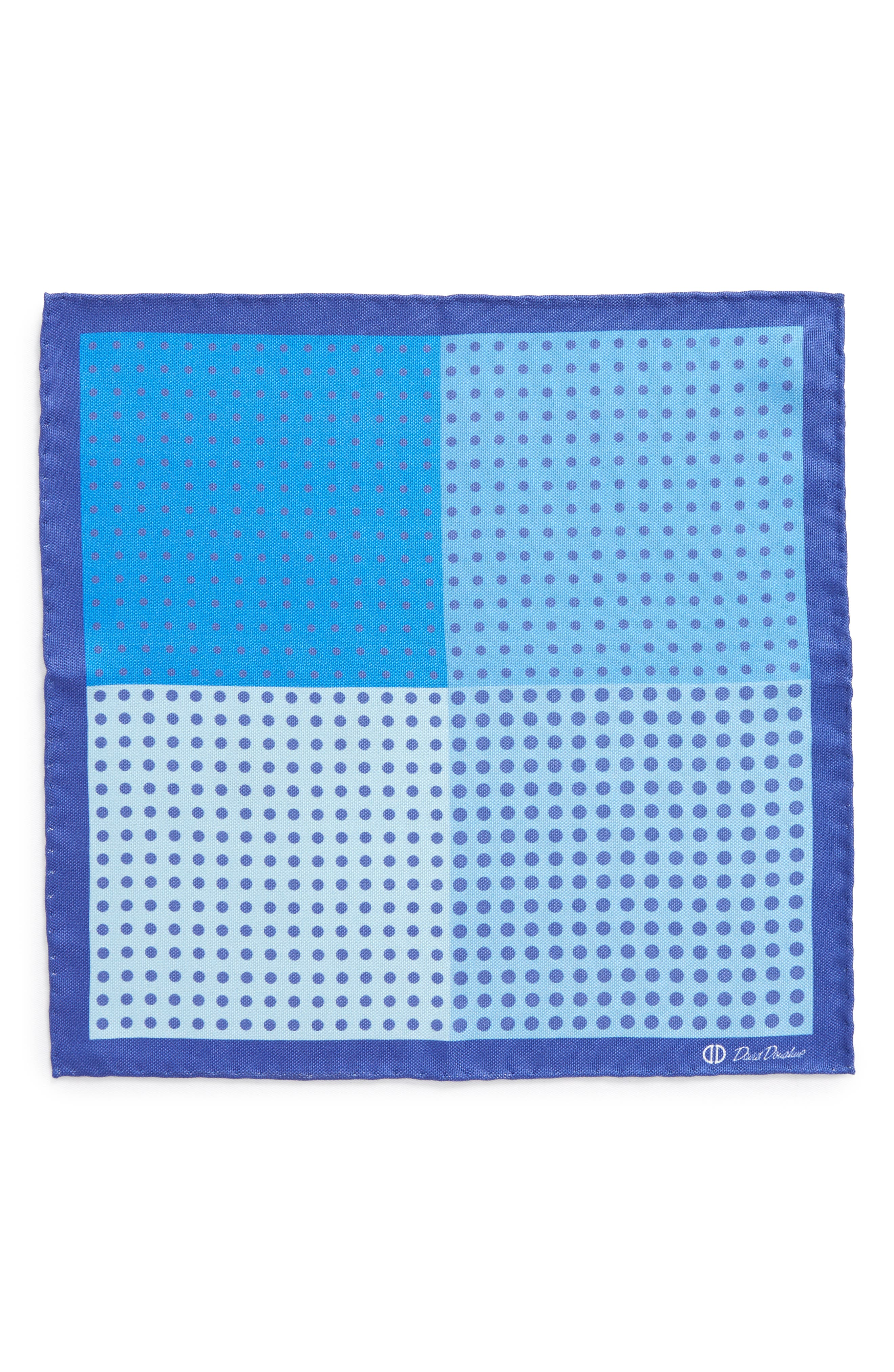 Dot Silk Pocket Square,                             Alternate thumbnail 2, color,                             Blue