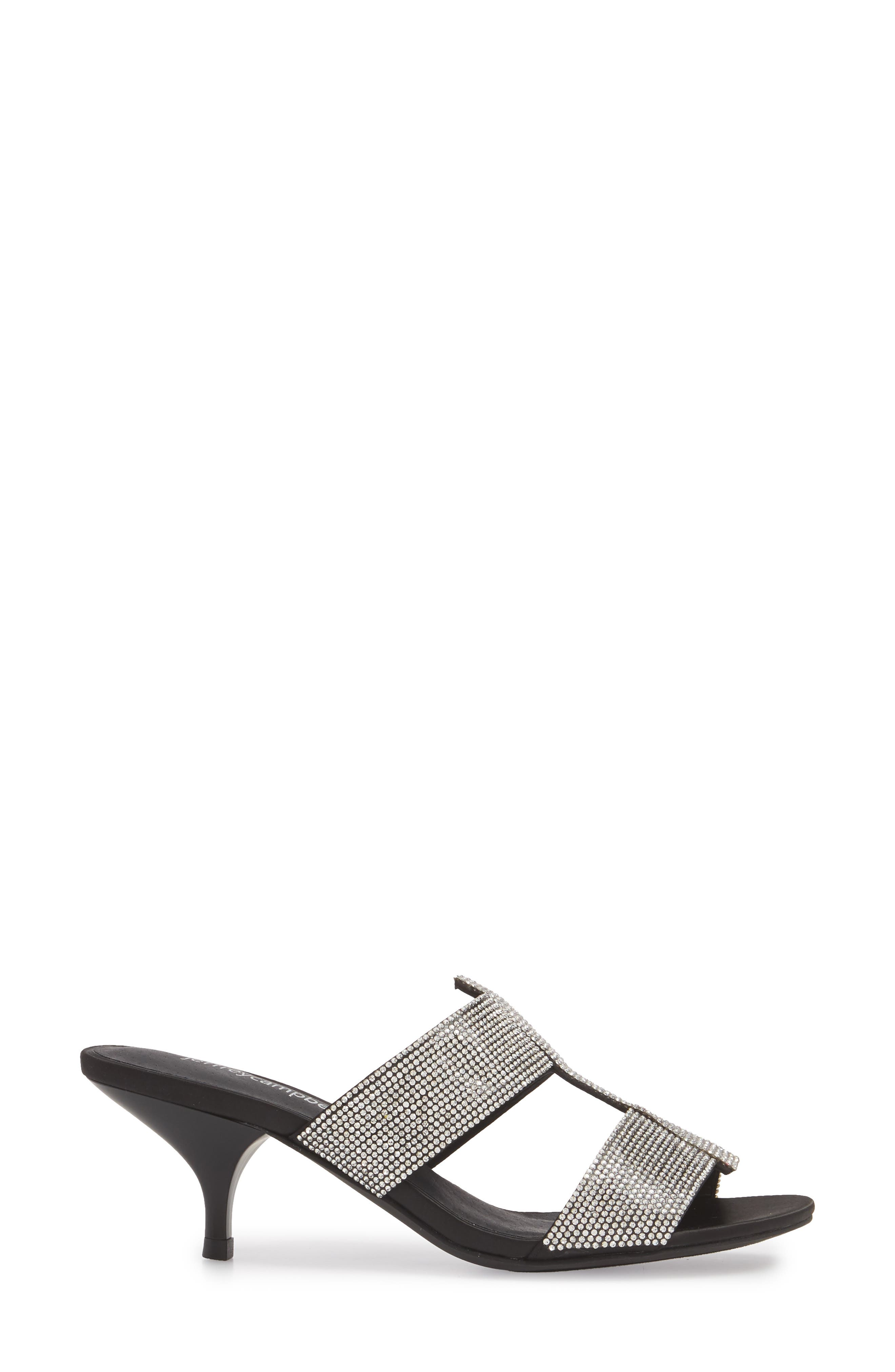Tartine Embellished Slide Sandal,                             Alternate thumbnail 3, color,                             Black Satin/ Silver